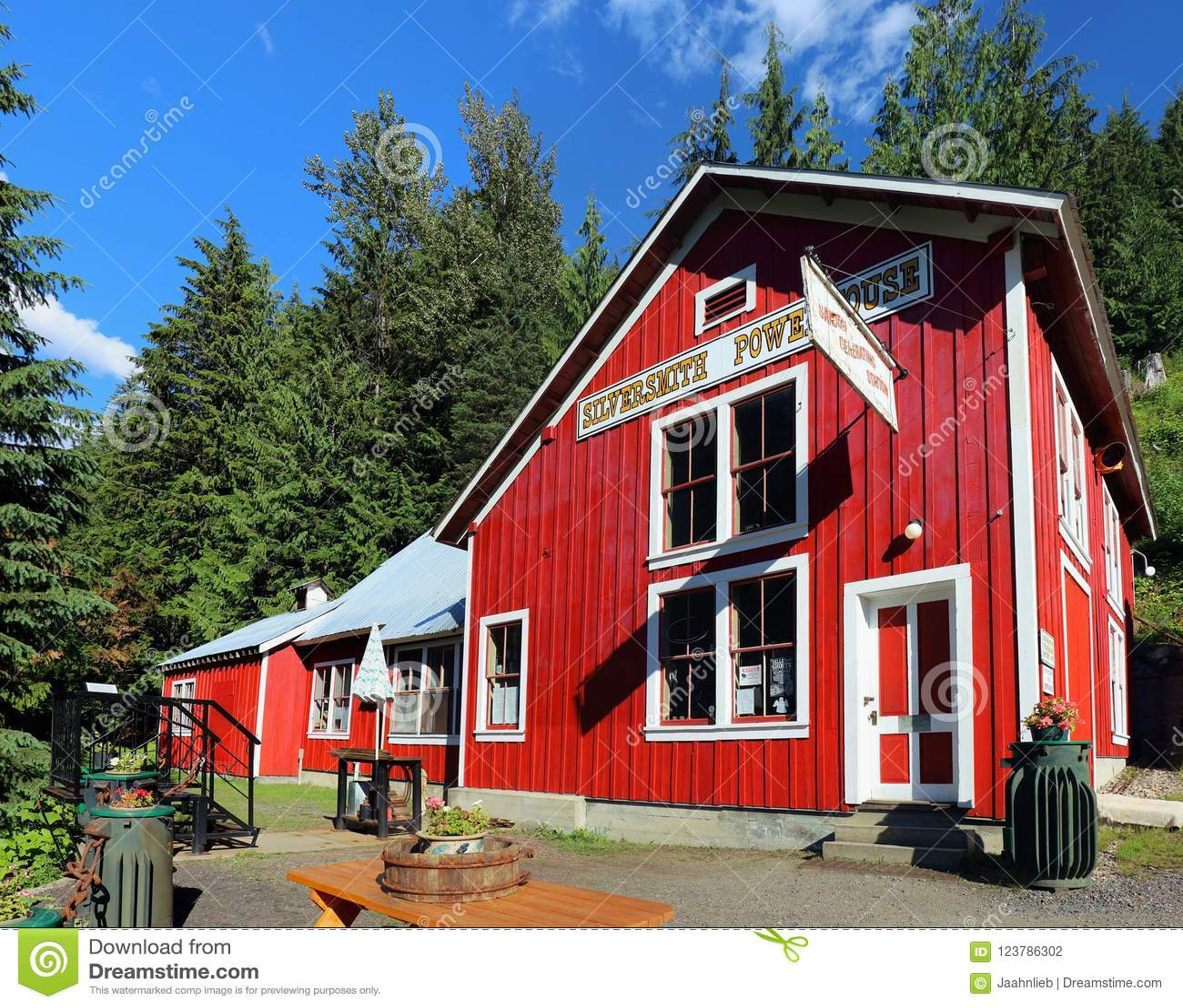 Historischer Silberschmied Powerhouse in Sandon, Britisch-Columbia