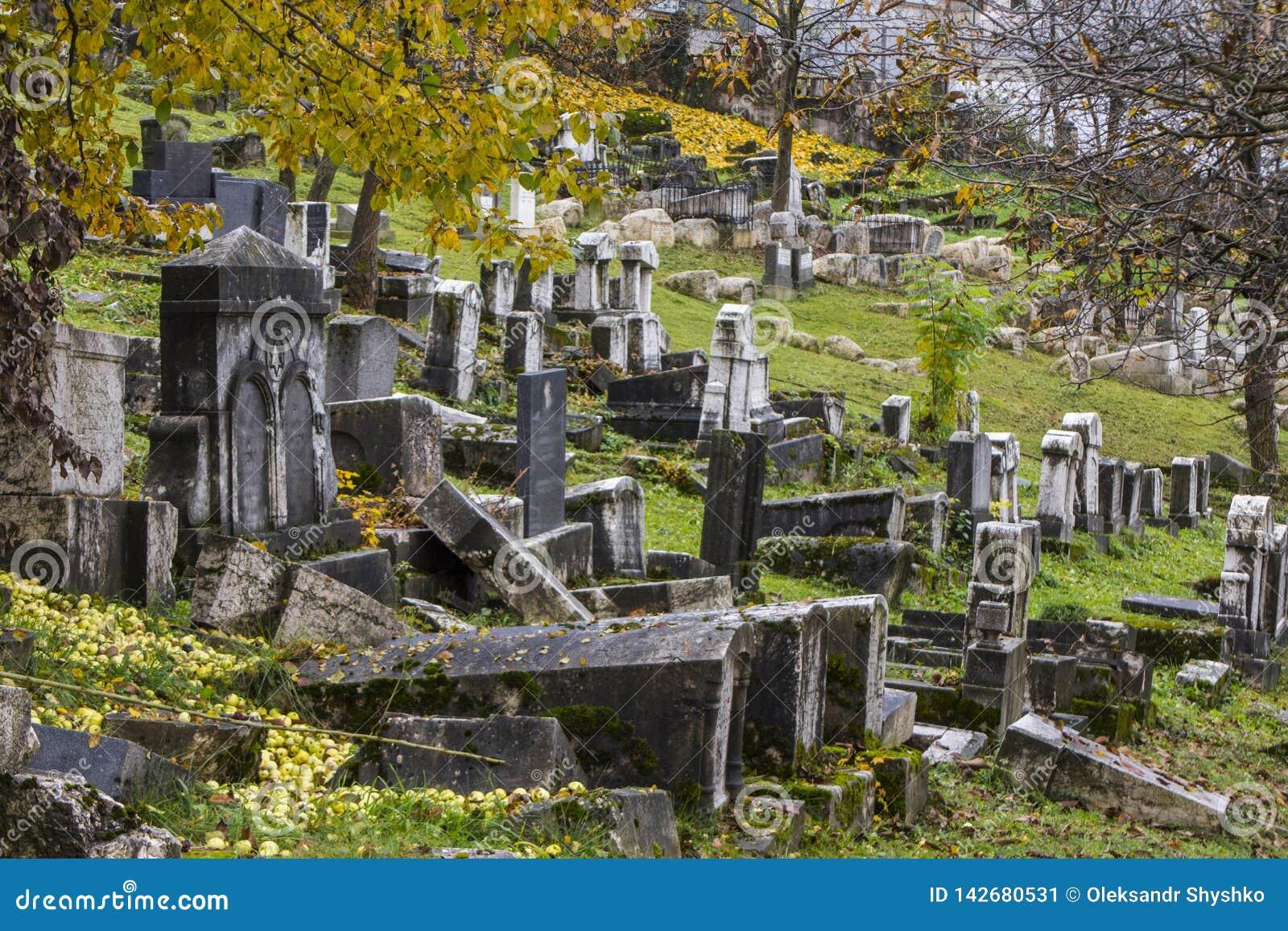 Historischer verlassener jüdischer Kirchhof in Sarajevo Schattierte Entlastungskarte mit HauptStadtgebieten