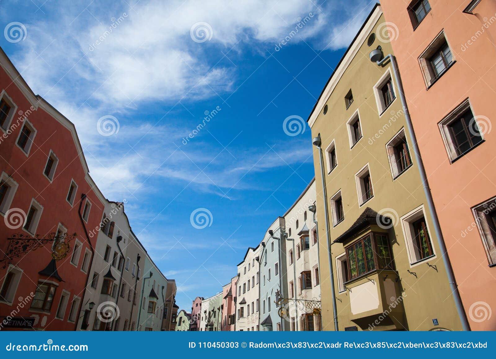Historisk mitt av Rattenberg, en liten och pittoresk medieva