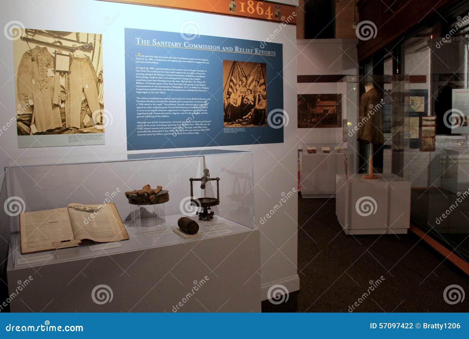 Historisk skärm av den sanitära kommissionen och hjälpaktionen, militärt museum för New York stat och veteranforskningscentrum, 2
