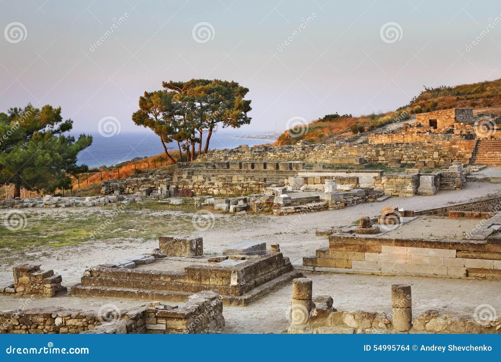 Historisk stad i Kameiros Rhodes ö Grekland