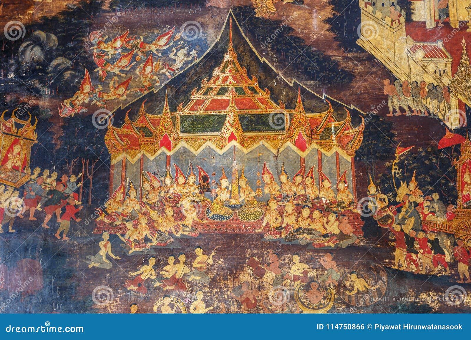 Historiskt ställe, Wat Ubosatharam Templet inhyser många kulturföremål liksom väggväggmålningar som föreställer stilen av tidiga