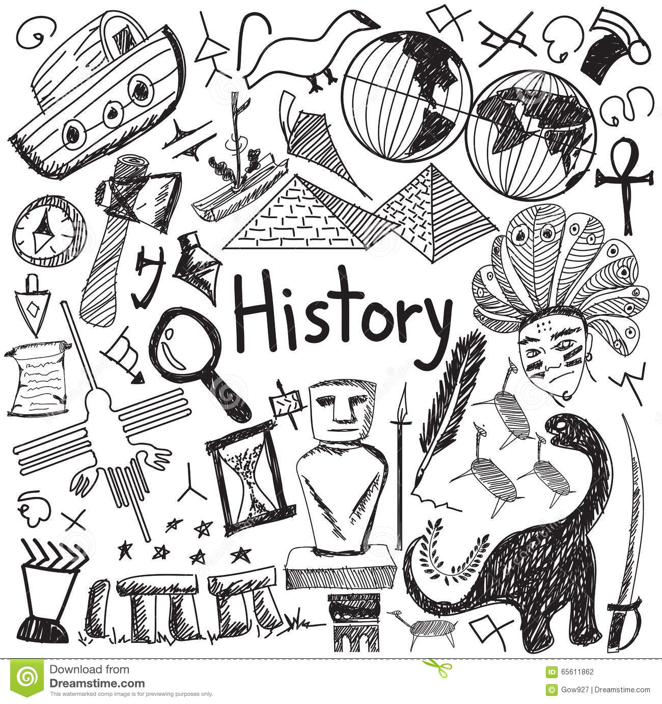 Book Cover Illustration History : History education subject handwriting doodle icon stock