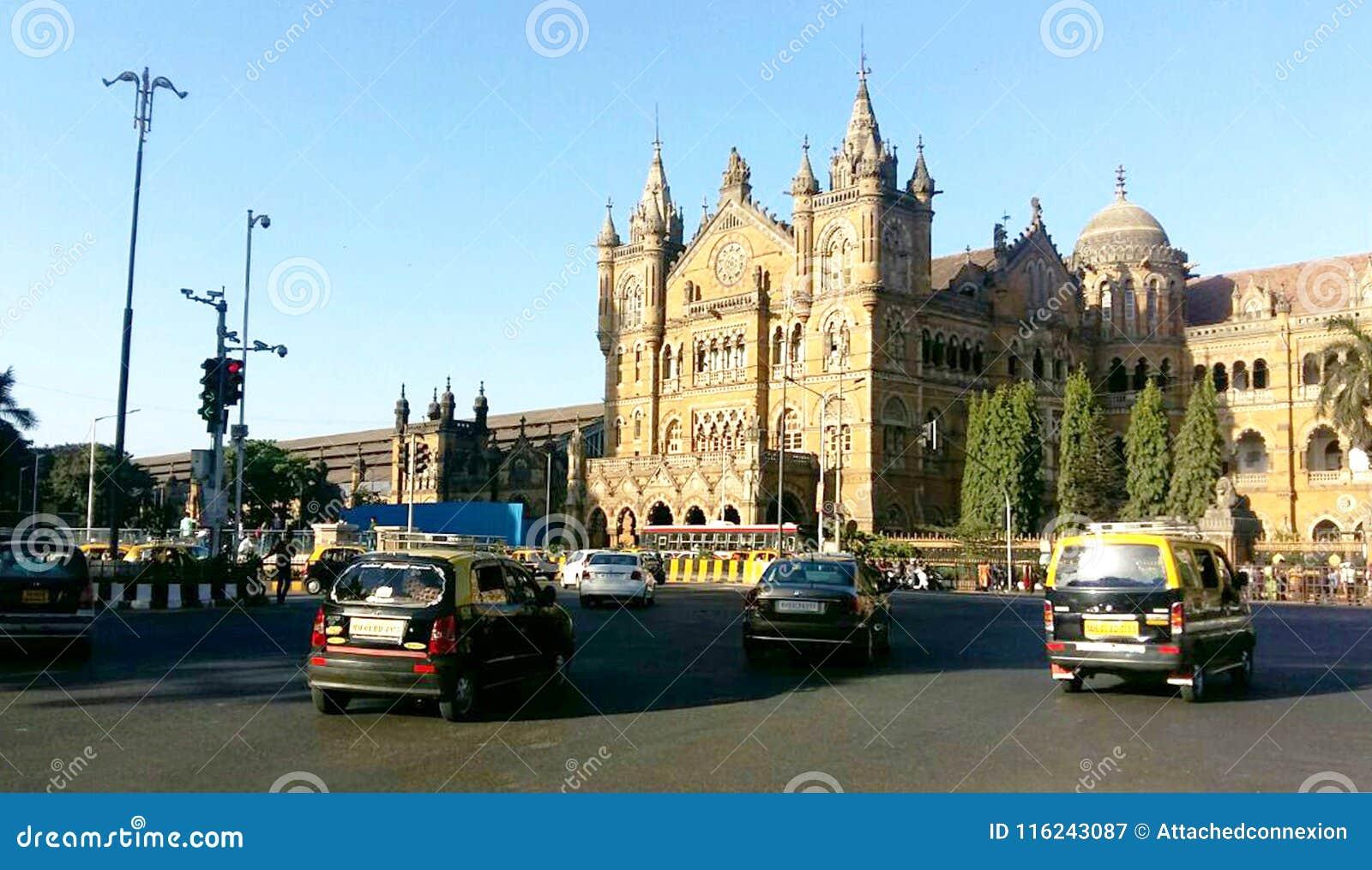 Historyczny staci kolejowej Chhatrapati Shivaji Terminus w Mumbai, UNESCO światowego dziedzictwa miejsce, Mumbai, India