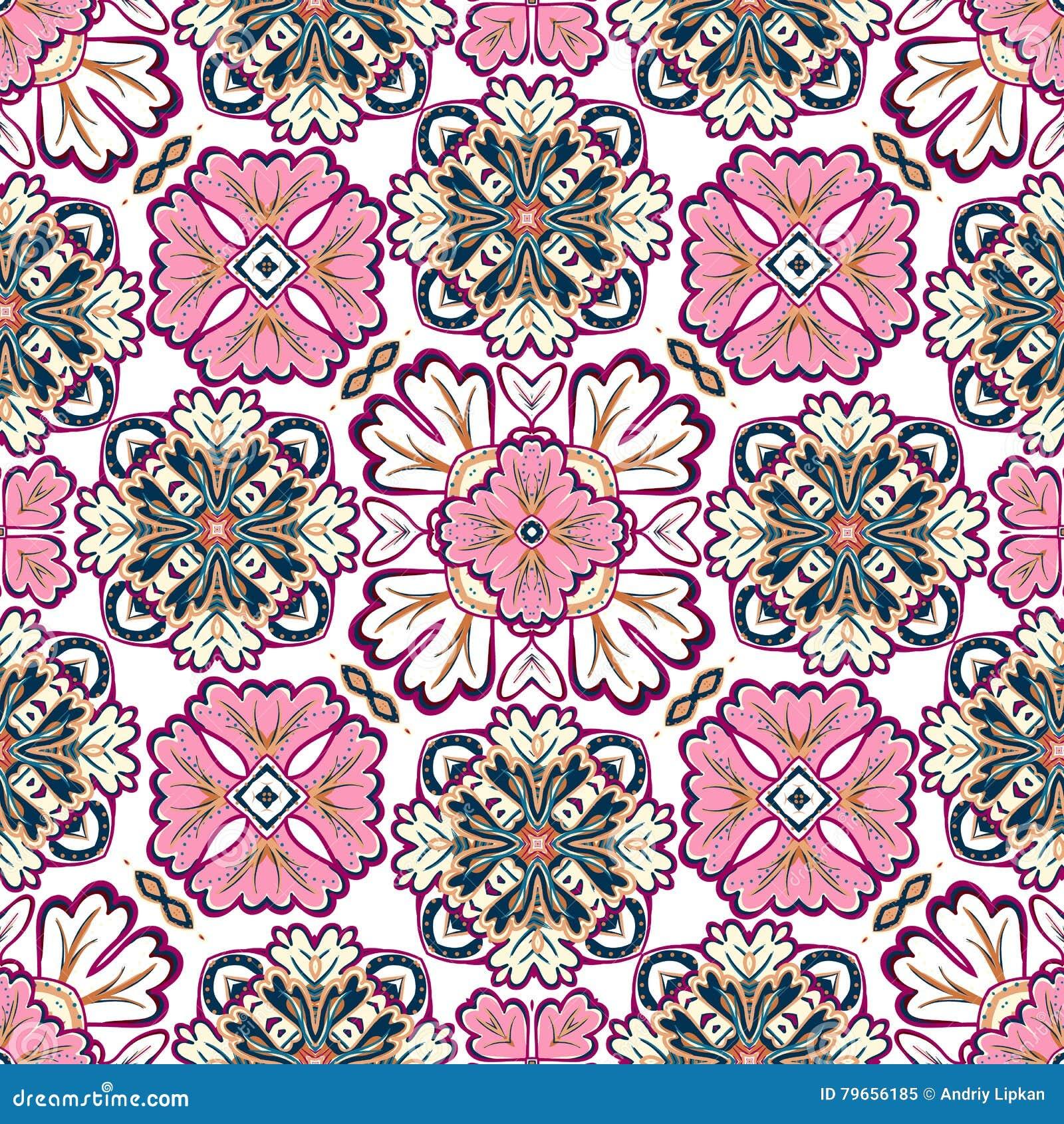 Hiszpański tradycyjny ornament, Śródziemnomorski bezszwowy wzór, dachówkowy projekt, wektorowa ilustracja