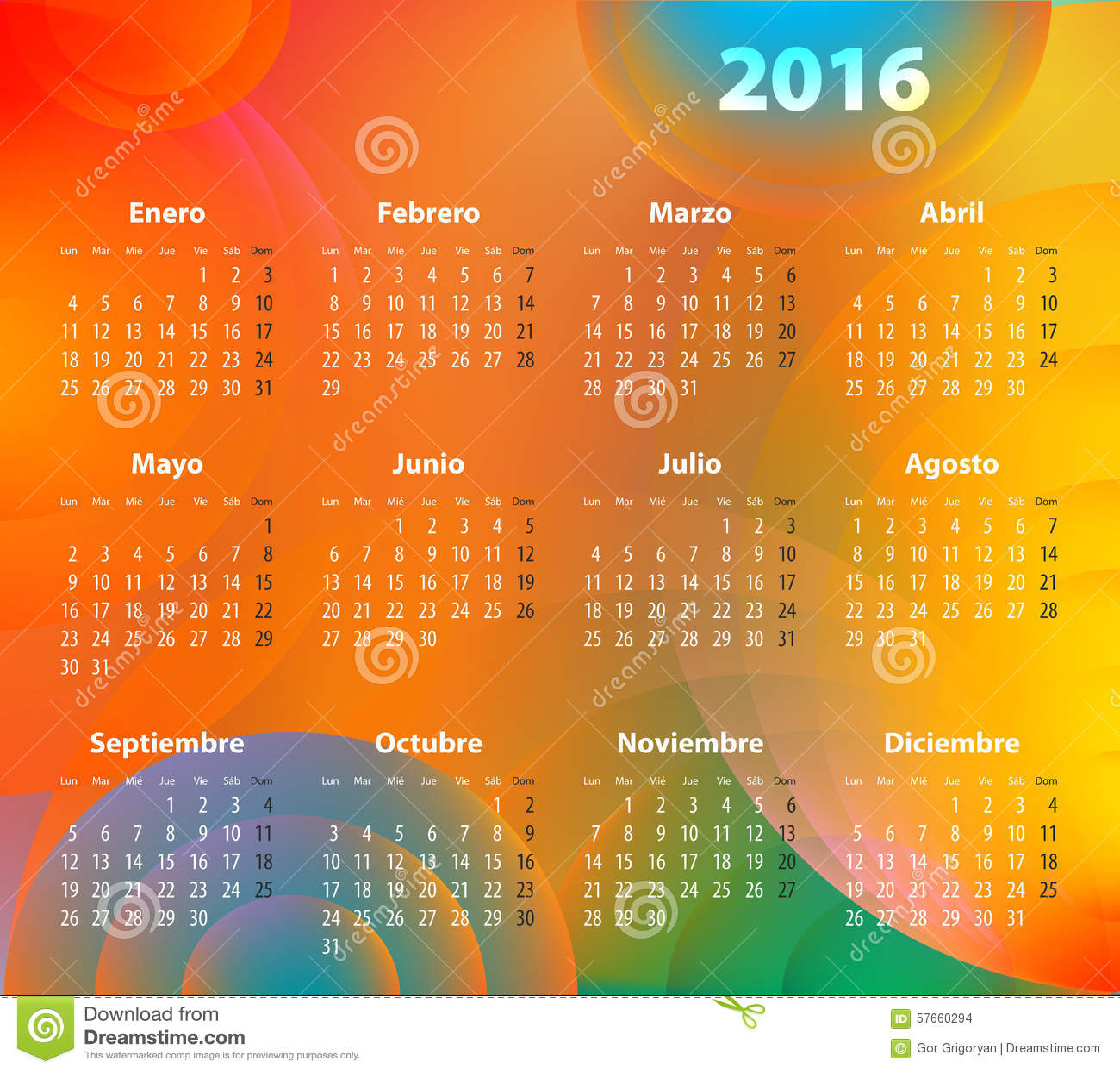 Hiszpańszczyzny Porządkują dla 2016 na abstrakcjonistycznych okręgach