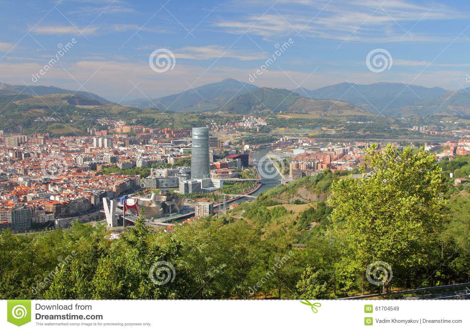 Hiszpania, Bilbao, widok miasto od above