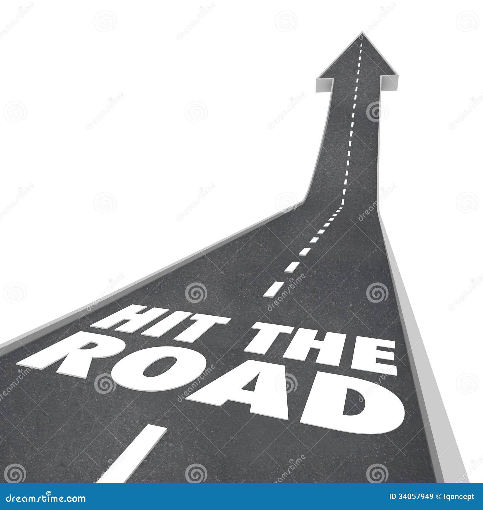 Hit The Road Start Traveling Leaving On Transportation
