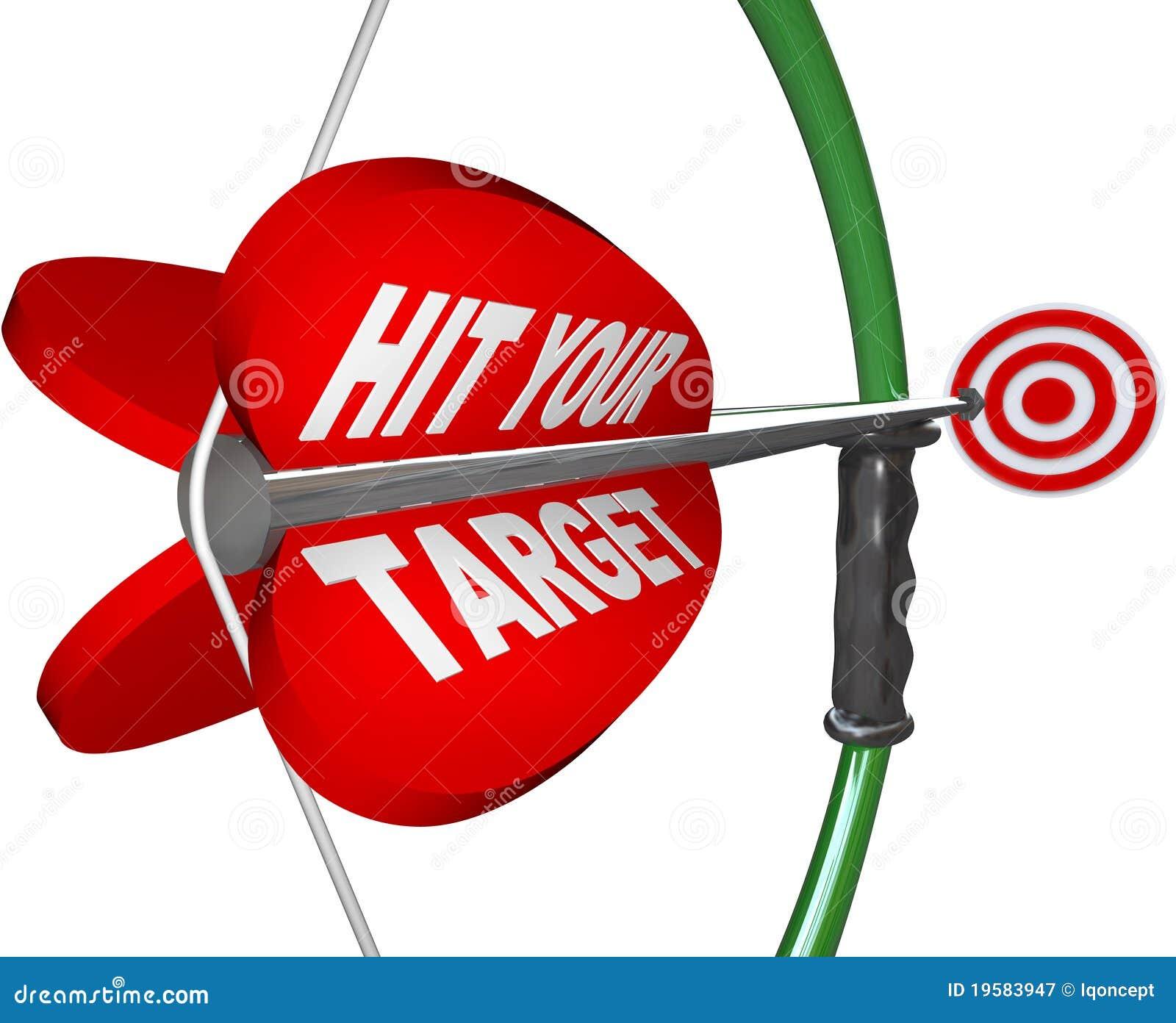 Hit Your Target - Bow and Arrow Aimed at Bulls Eye