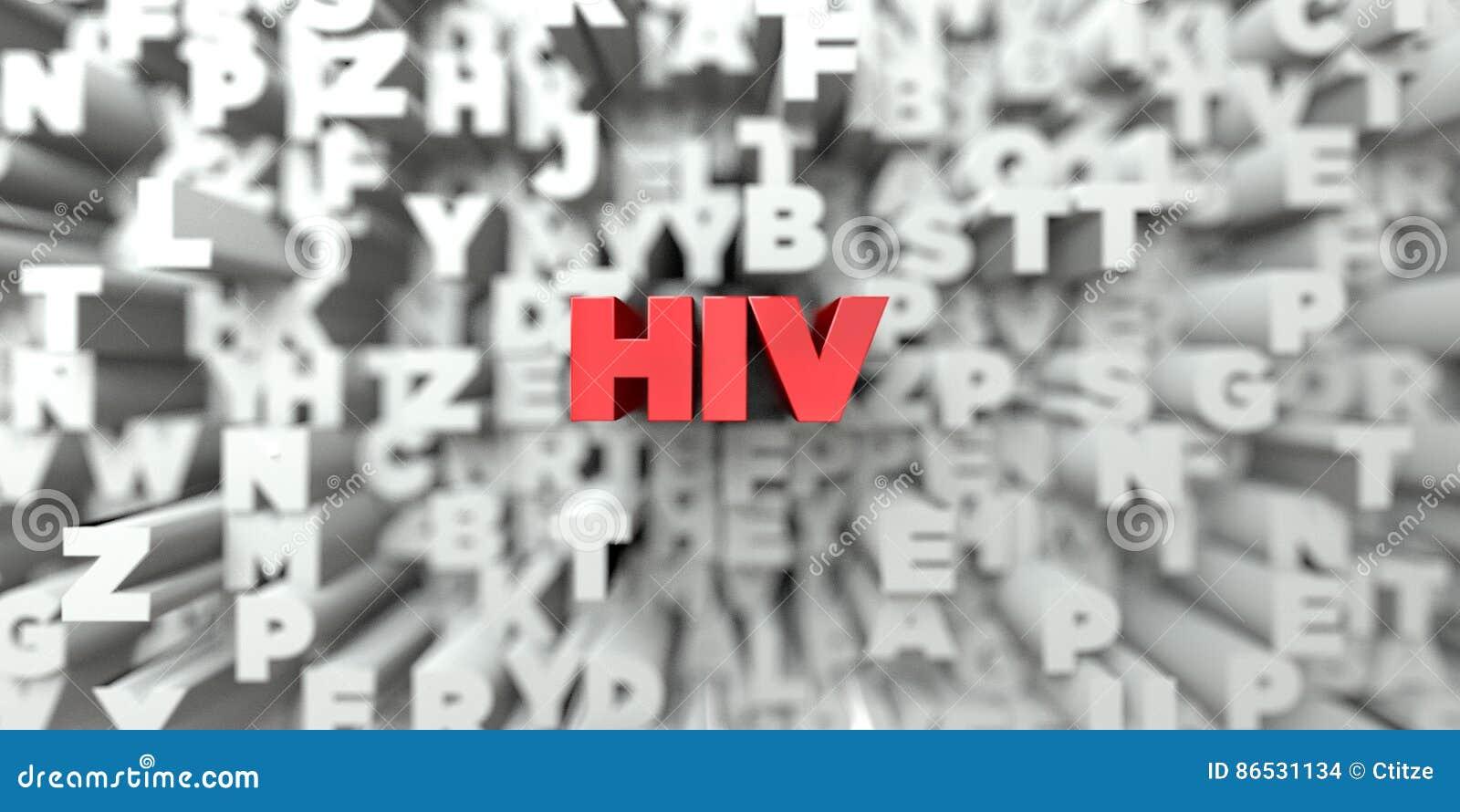 HIV - Röd text på typografibakgrund - 3D framförd fri materielbild för royalty