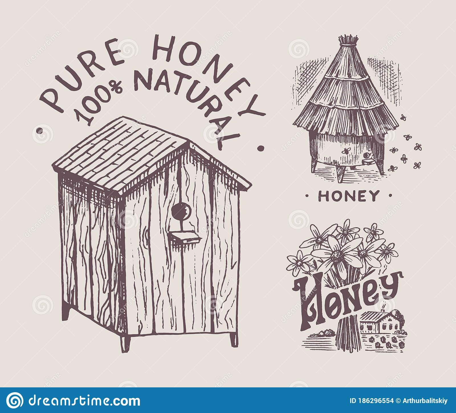Bee Farm Labels Set: Hive And Apiary And Flowers. Honey And Bees Labels