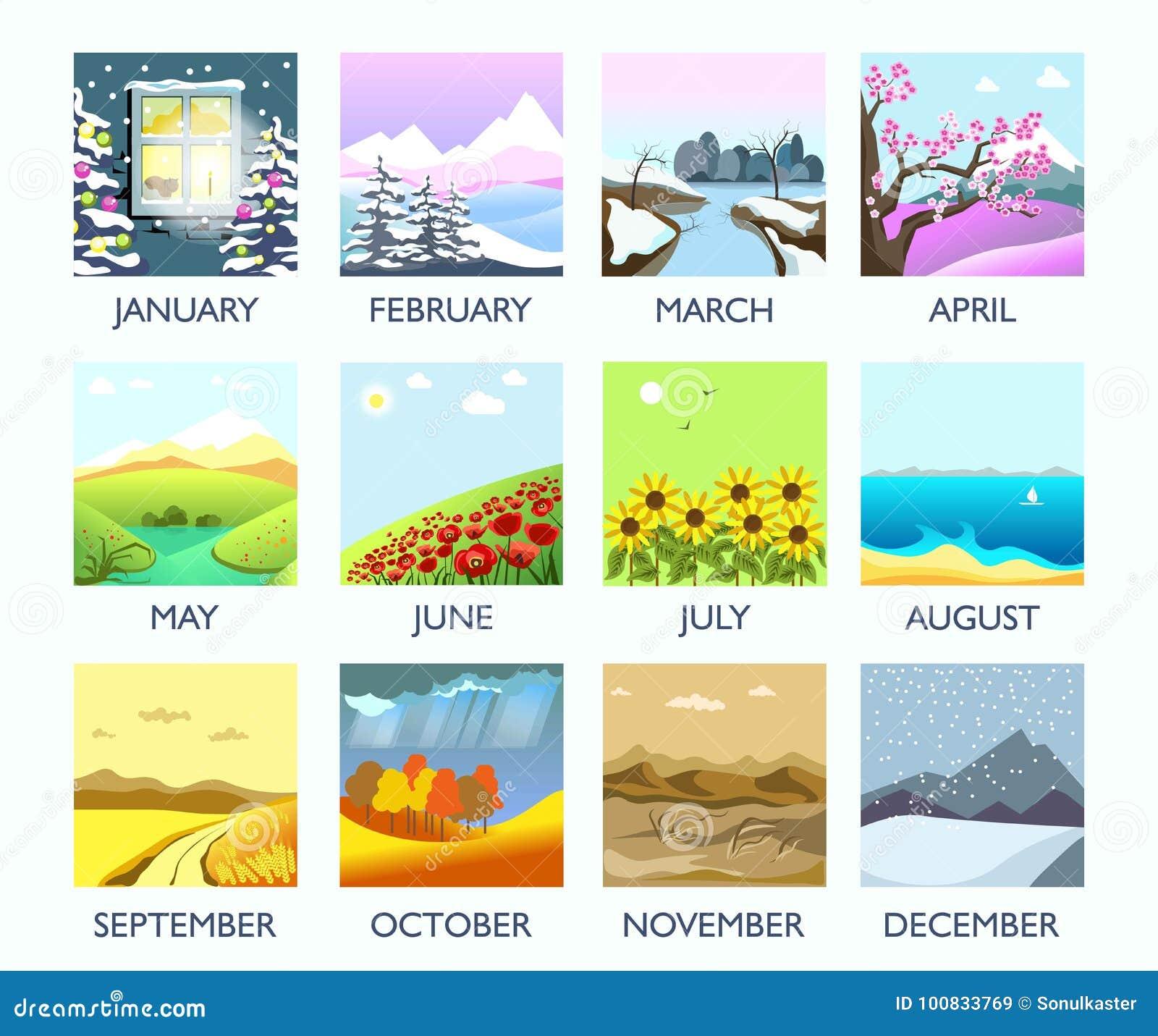 Hiver de paysage de nature de mois de quatre saisons, été, automne, paysage plat de vecteur de ressort