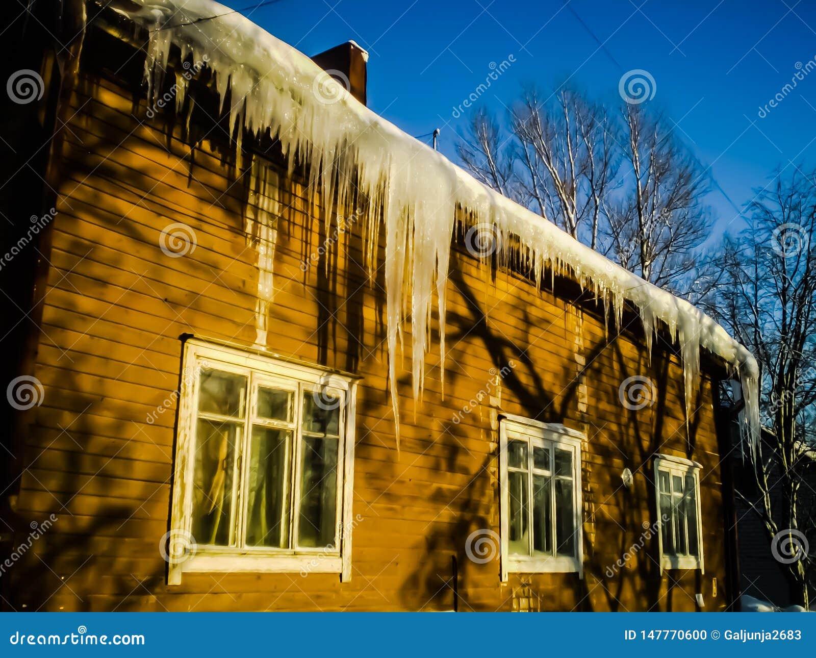 Hiver, ensoleillé, neige, glaçons, maison, ligne