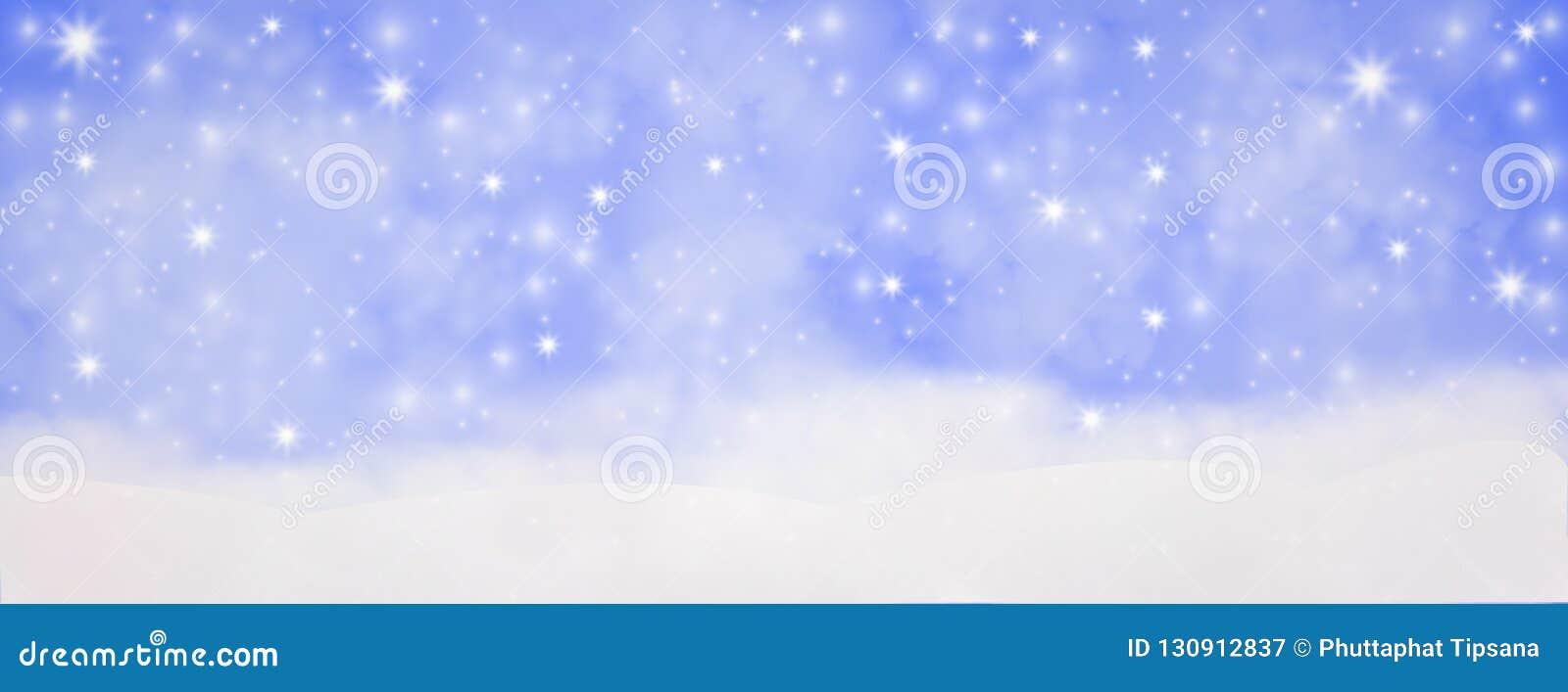 Hiver extérieur avec les flocons de neige en baisse, hor panoramique de bannière de Web