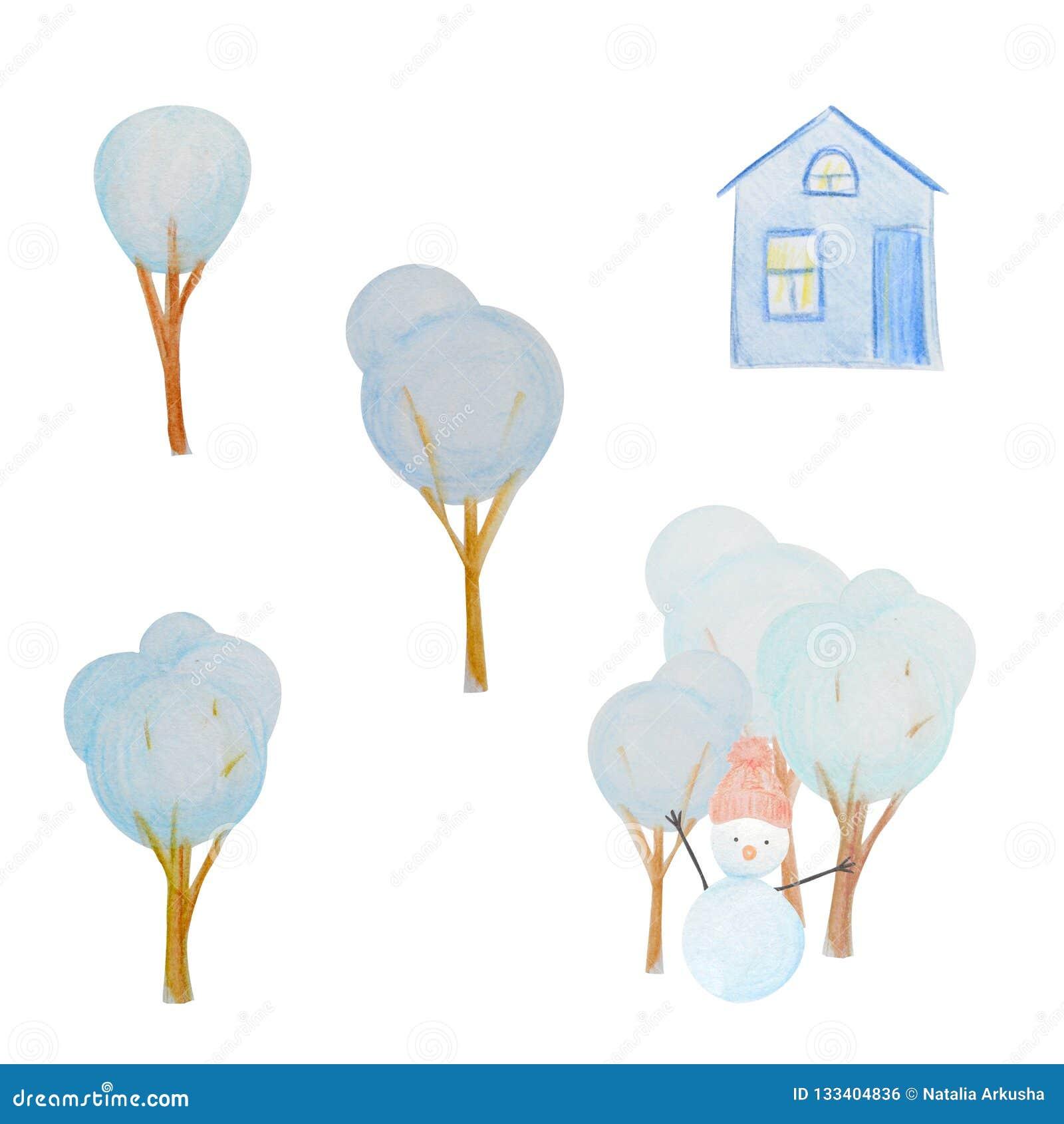 Hiver réglé avec des bonhommes de neige et hous et des arbres peints avec les crayons colorés d aquarelle