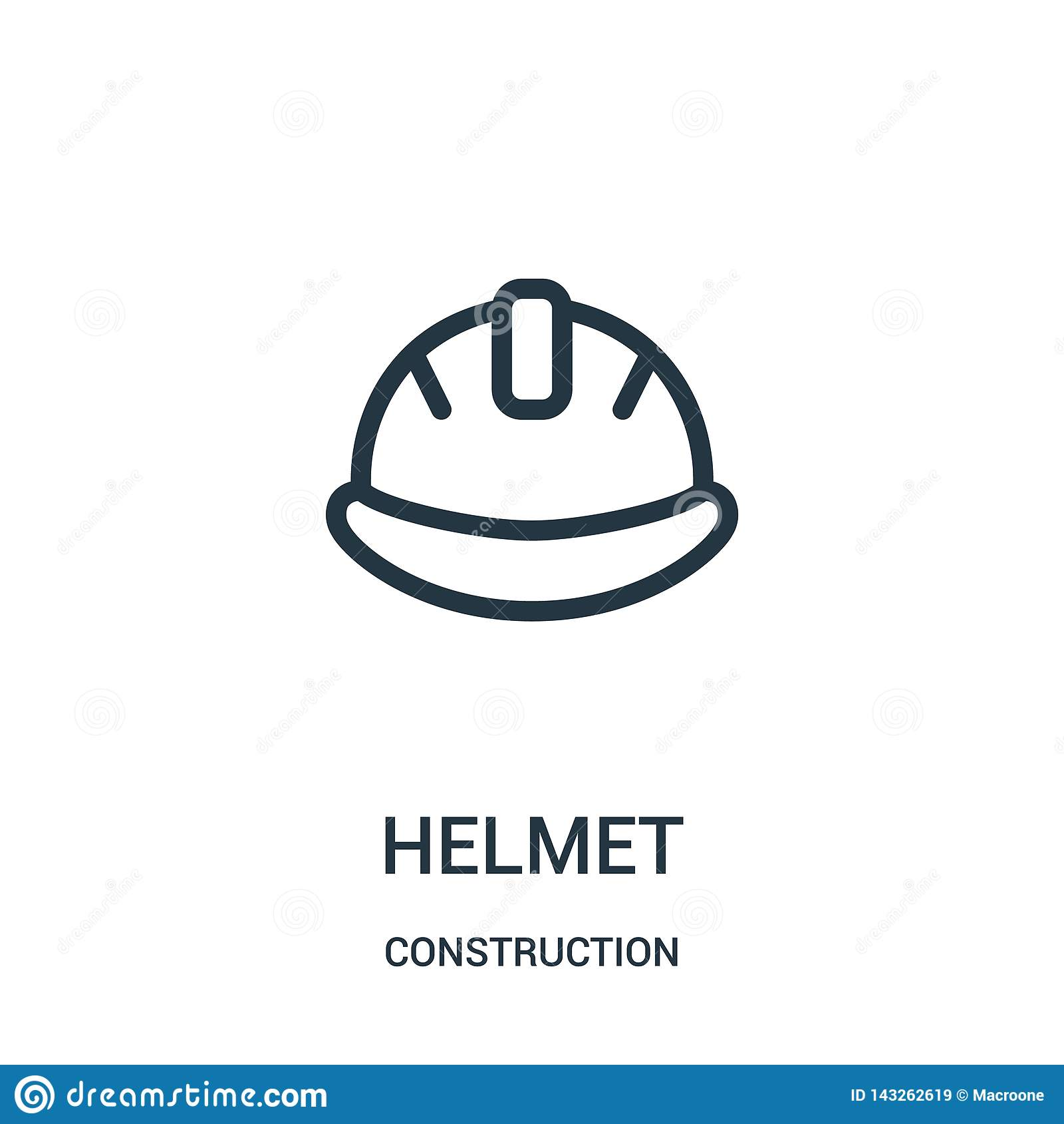 Hjälmsymbolsvektor från konstruktionssamling Tunn linje illustration för vektor för hjälmöversiktssymbol