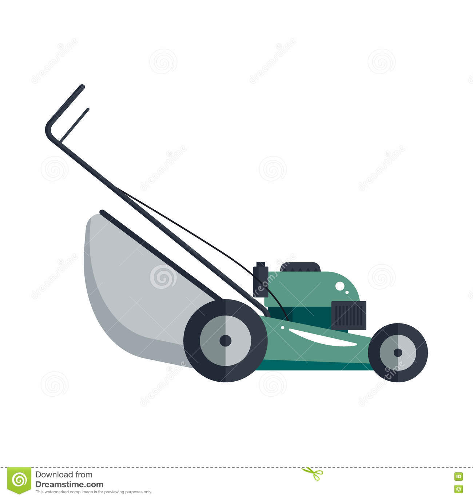 Hjälpmedel för utrustning för teknologi för gräsklipparemaskinsymbol som arbeta i trädgården gräs-skäraren - vektormateriel