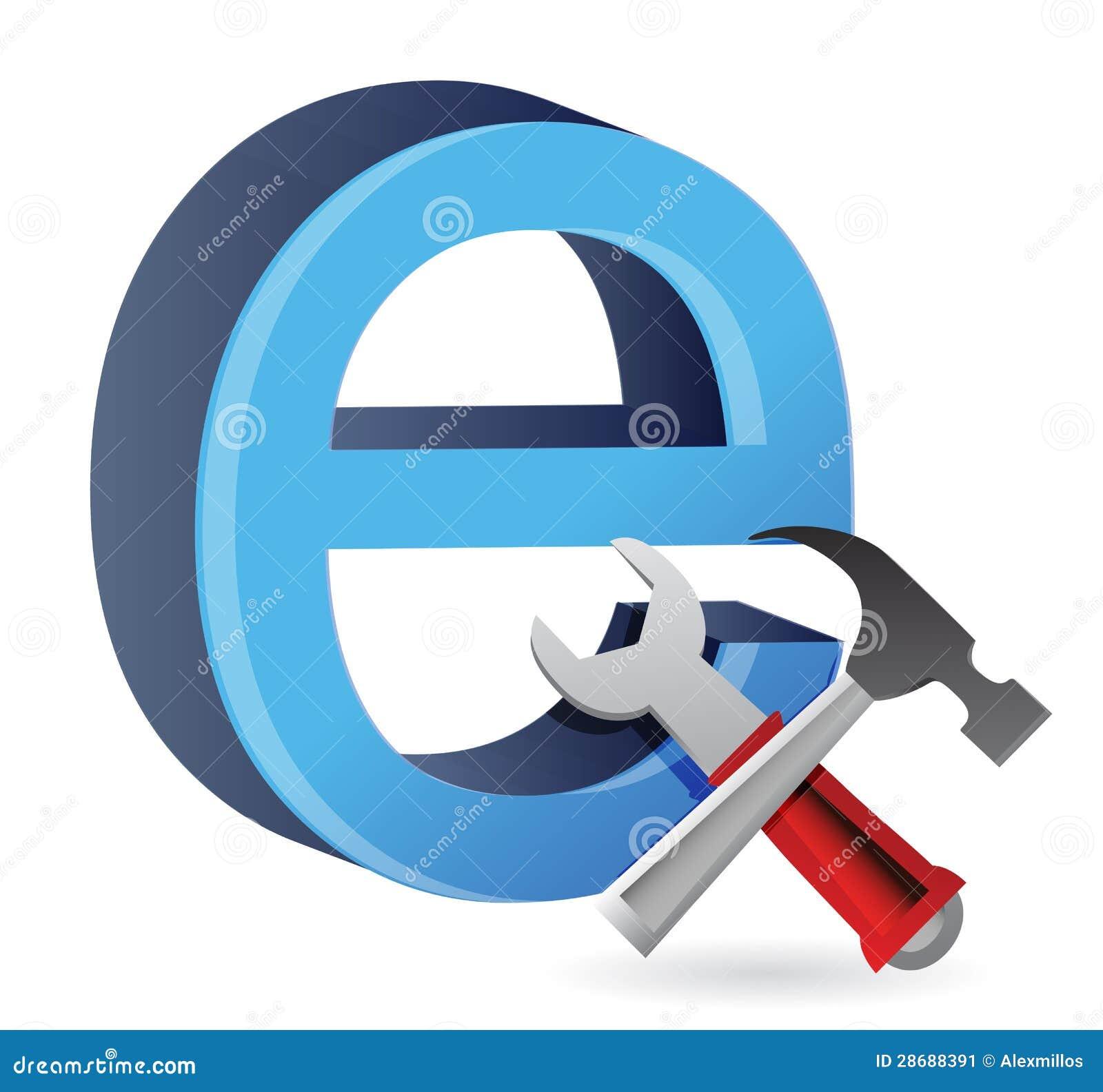 Hjälpmedel med symbolet för internet.