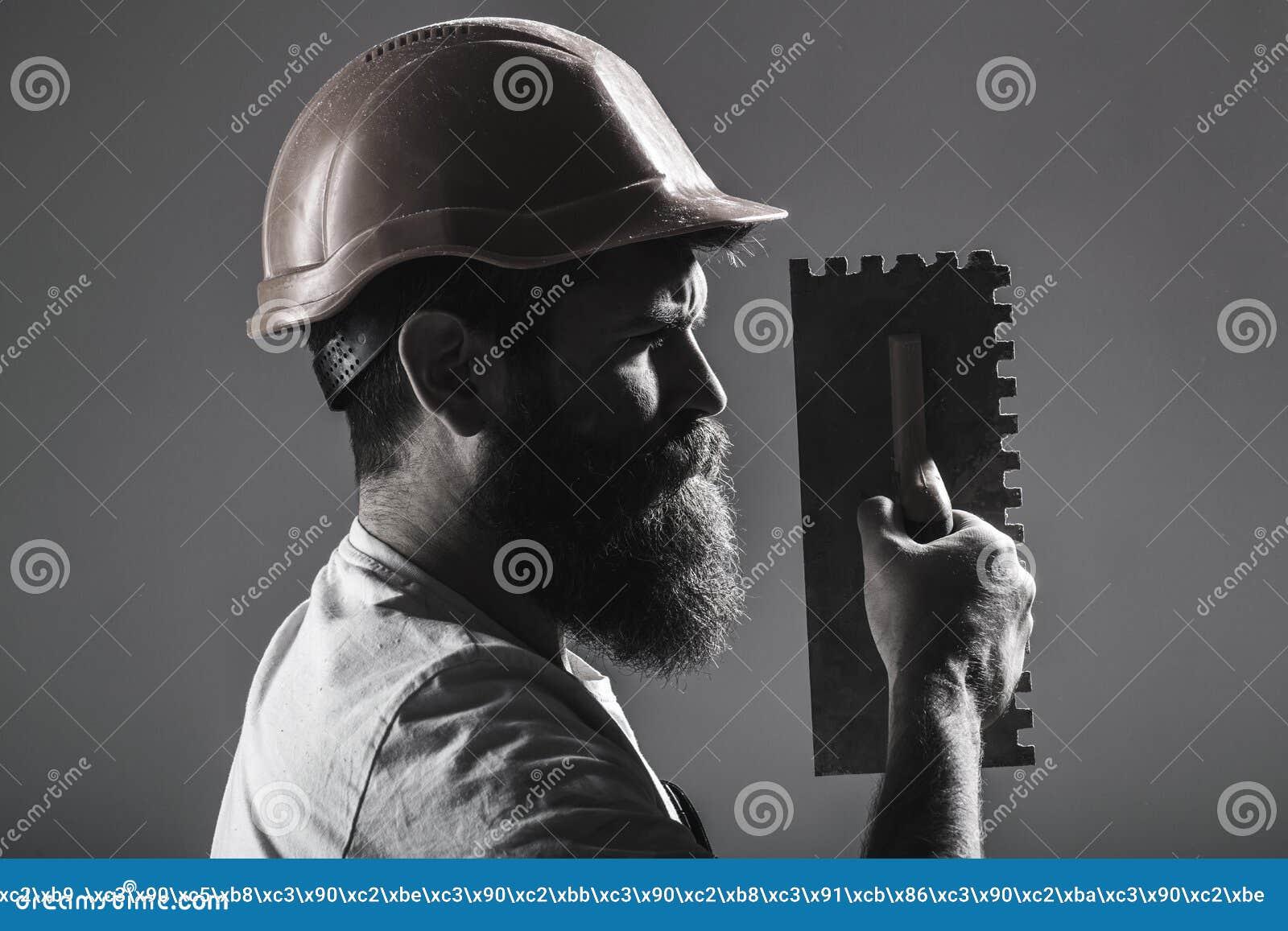 Hjälpmedel murslev, faktotum, manbyggmästare Murarehjälpmedel, byggmästare Skäggig manarbetare, skägg, byggnadshjälm, hård hatt
