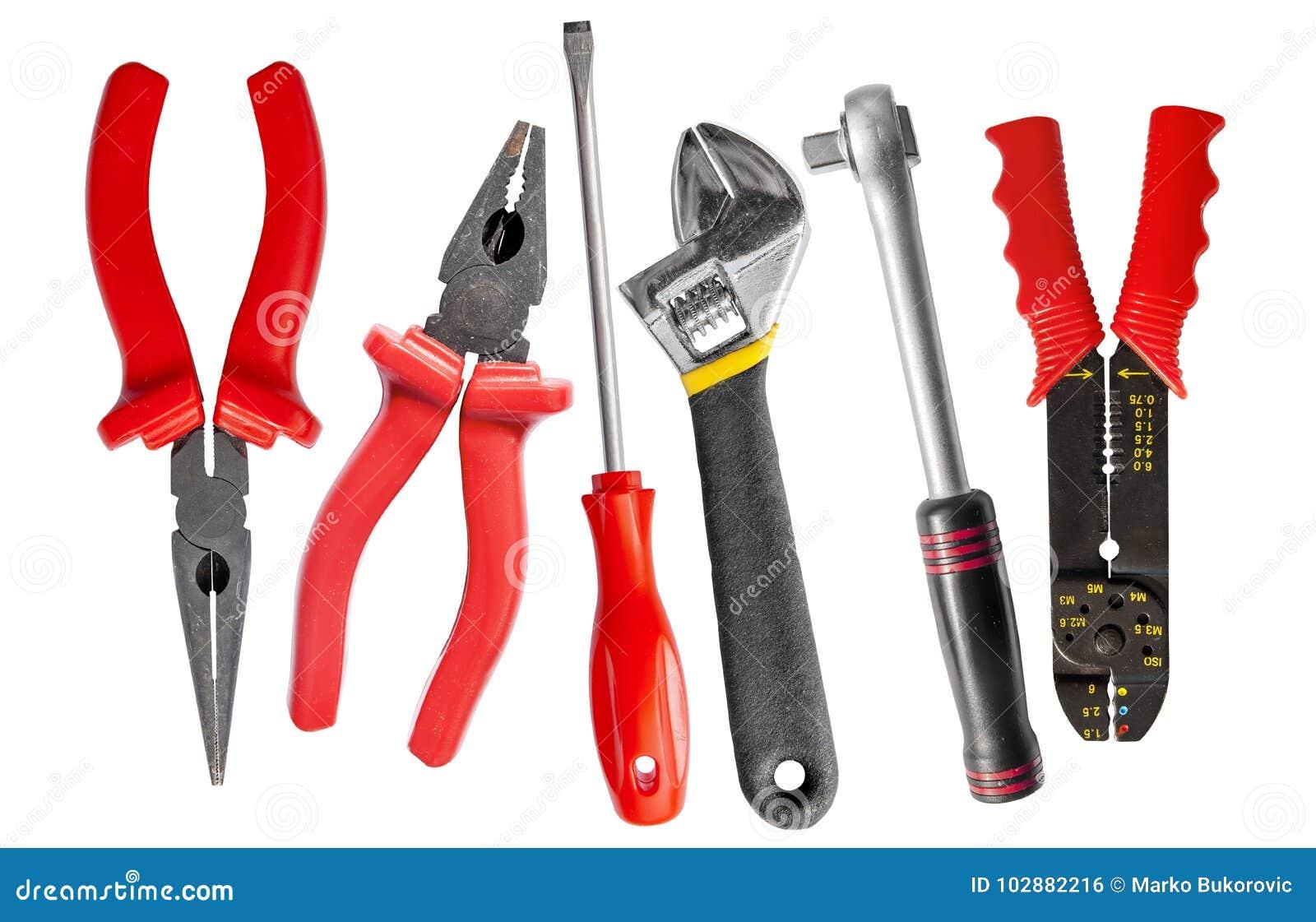 Hjälpmedeluppsättning av skiftnyckel, skiftnyckel, plattång och skruvmejsel