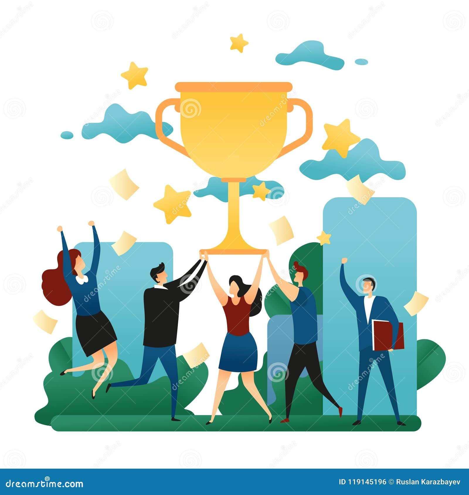 Hjälpsam teamworkseger för kontor Lycklig folkseger i laget Första ställe i affär med en guld- kopp Affärsidévecto