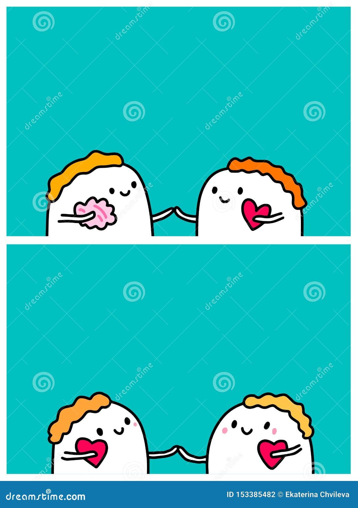 Hjärna eller hjärta Förbindelse i par Utdragna vektorillustrationer för hand för kortaffischbaner