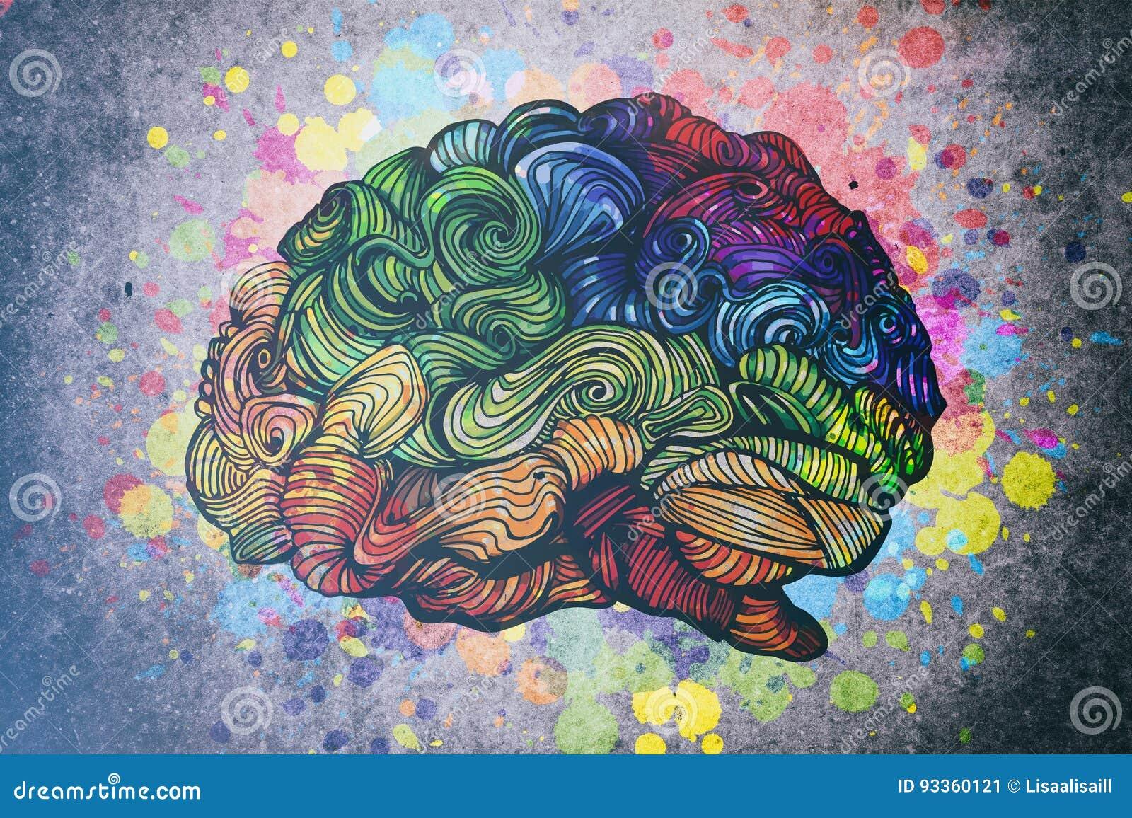 Hjärnklotterillustration med texturer