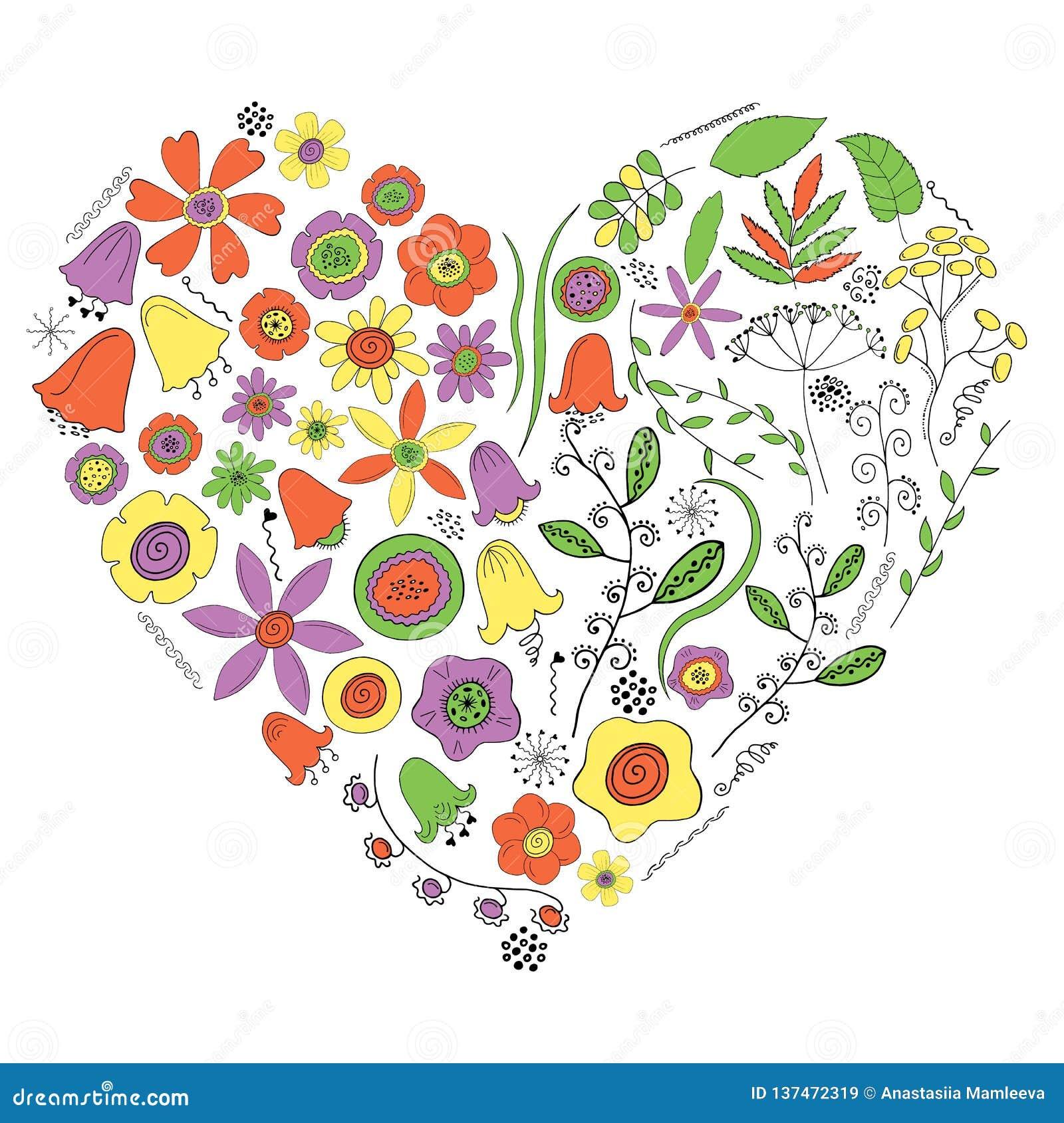 Hjärta av blommor och växter på en vit bakgrund