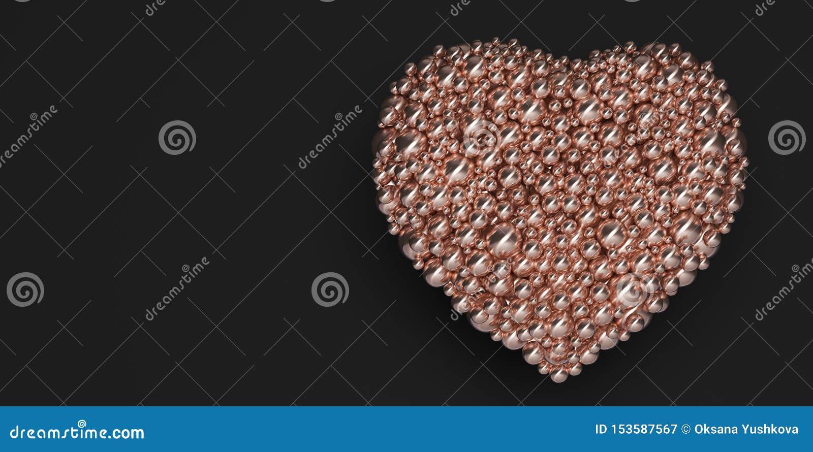 Hjärta av guld- ballonger på en svart bakgrund - illustration 3D