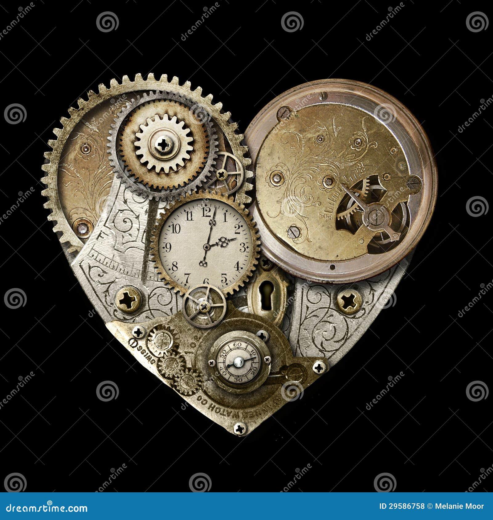 Hjärta av Steampunk isolerade