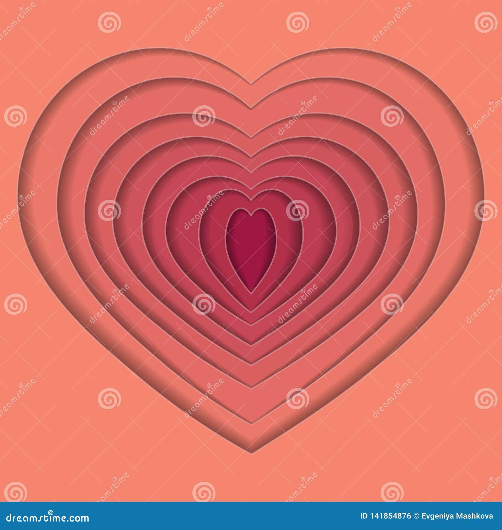 Hjärta för volympapperssnitt också vektor för coreldrawillustration 10 eps