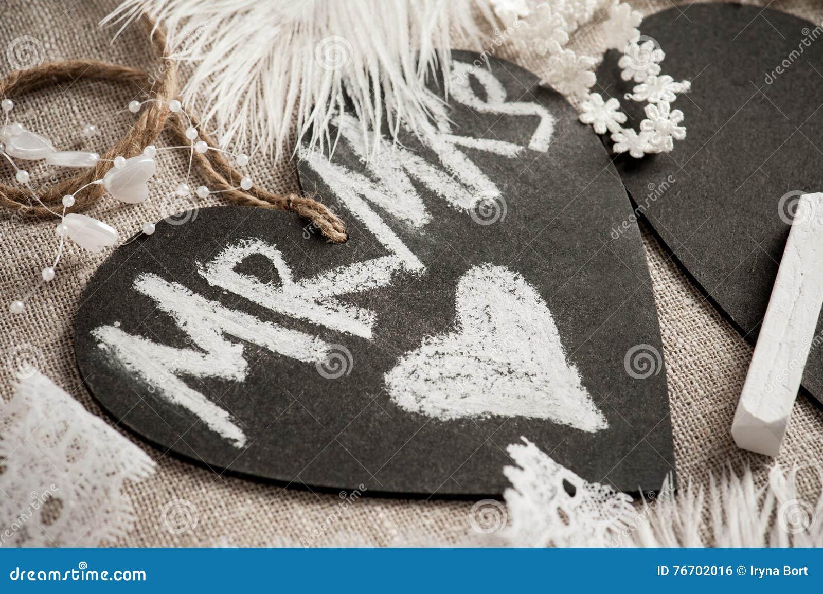 Hjärta formad svart tavlaetikett