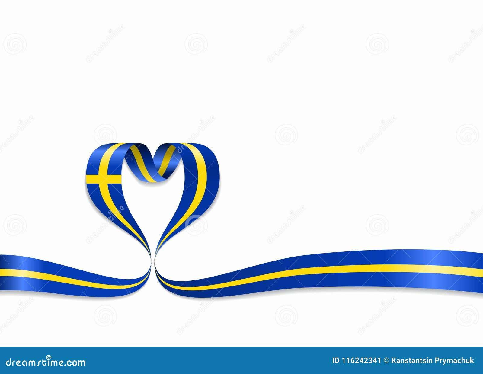 Hjärta Format Band För Svensk Flagga Också Vektor För