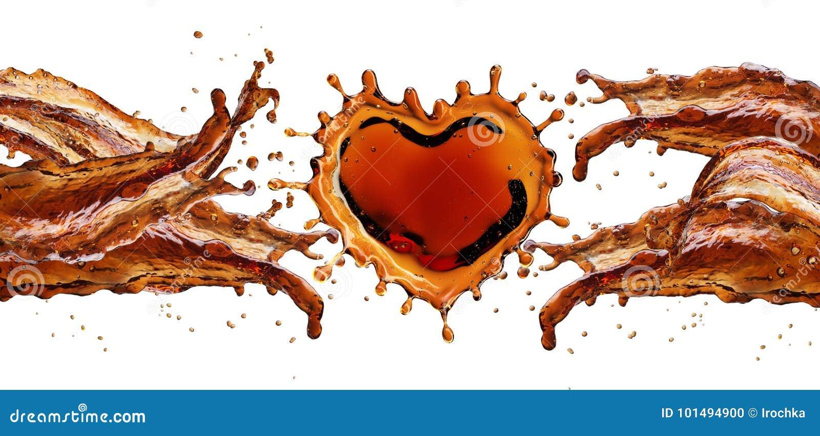 Hjärta från colafärgstänk med bubblor som isoleras på vit