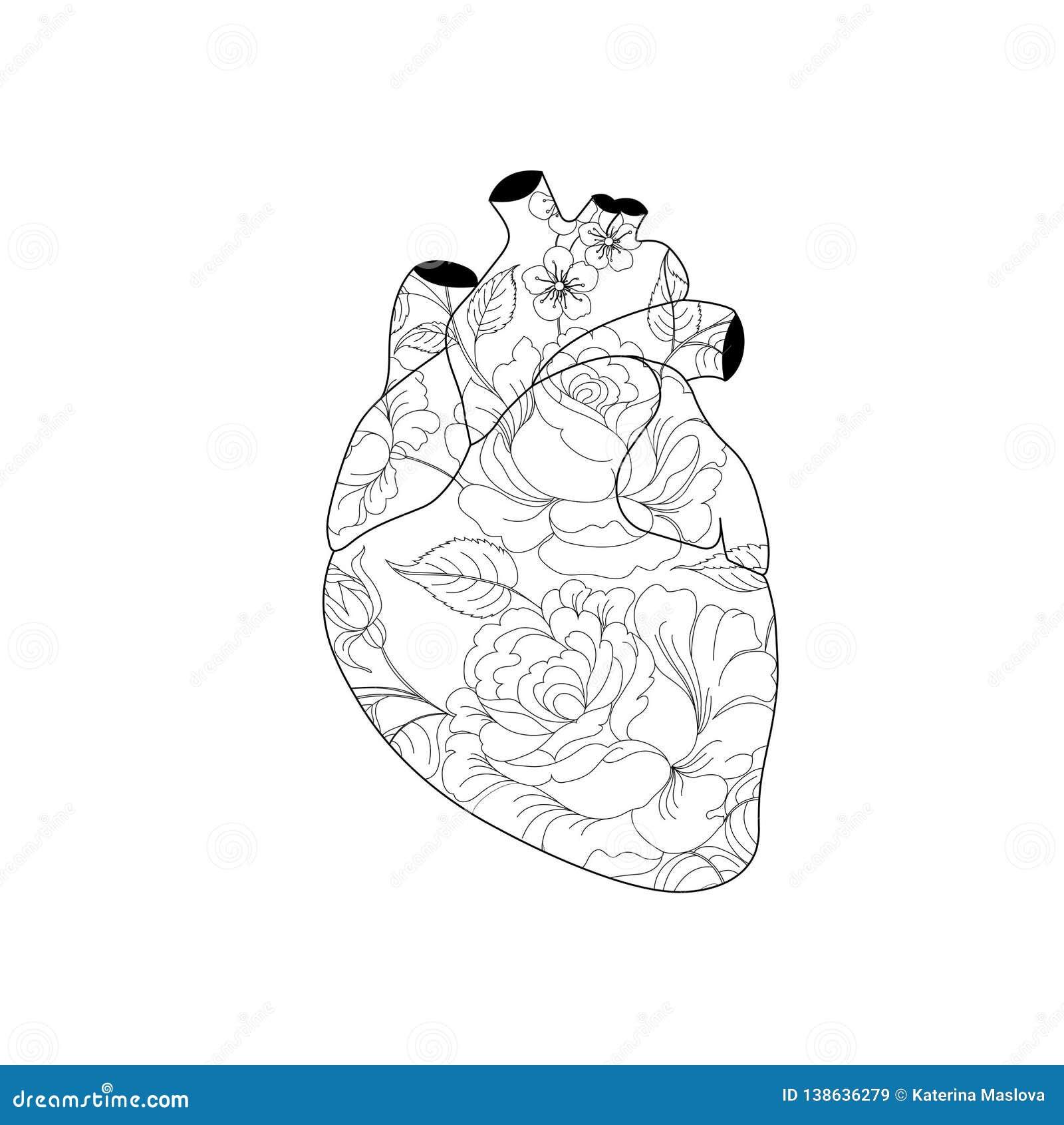 Hjärta i blommasymbol i plan stil