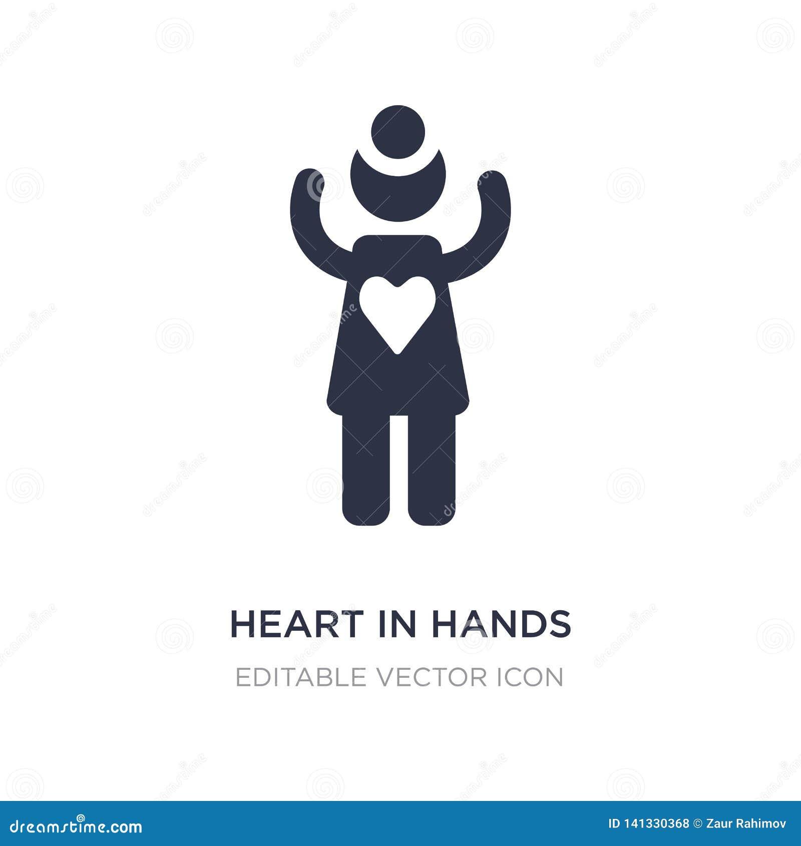 Hjärta i handsymbol på vit bakgrund Enkel beståndsdelillustration från folkbegrepp