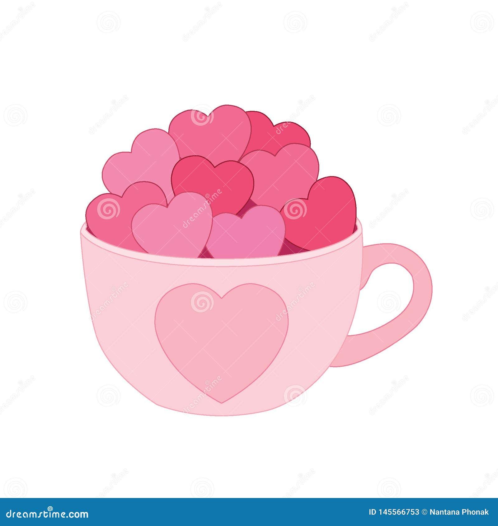 Hjärta i koppen på vit bakgrund
