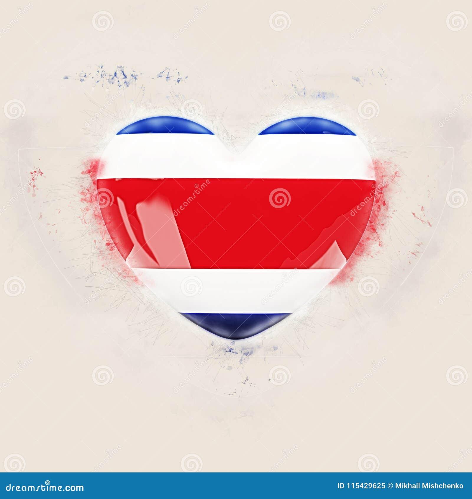Hjärta med flaggan av Costa Rica