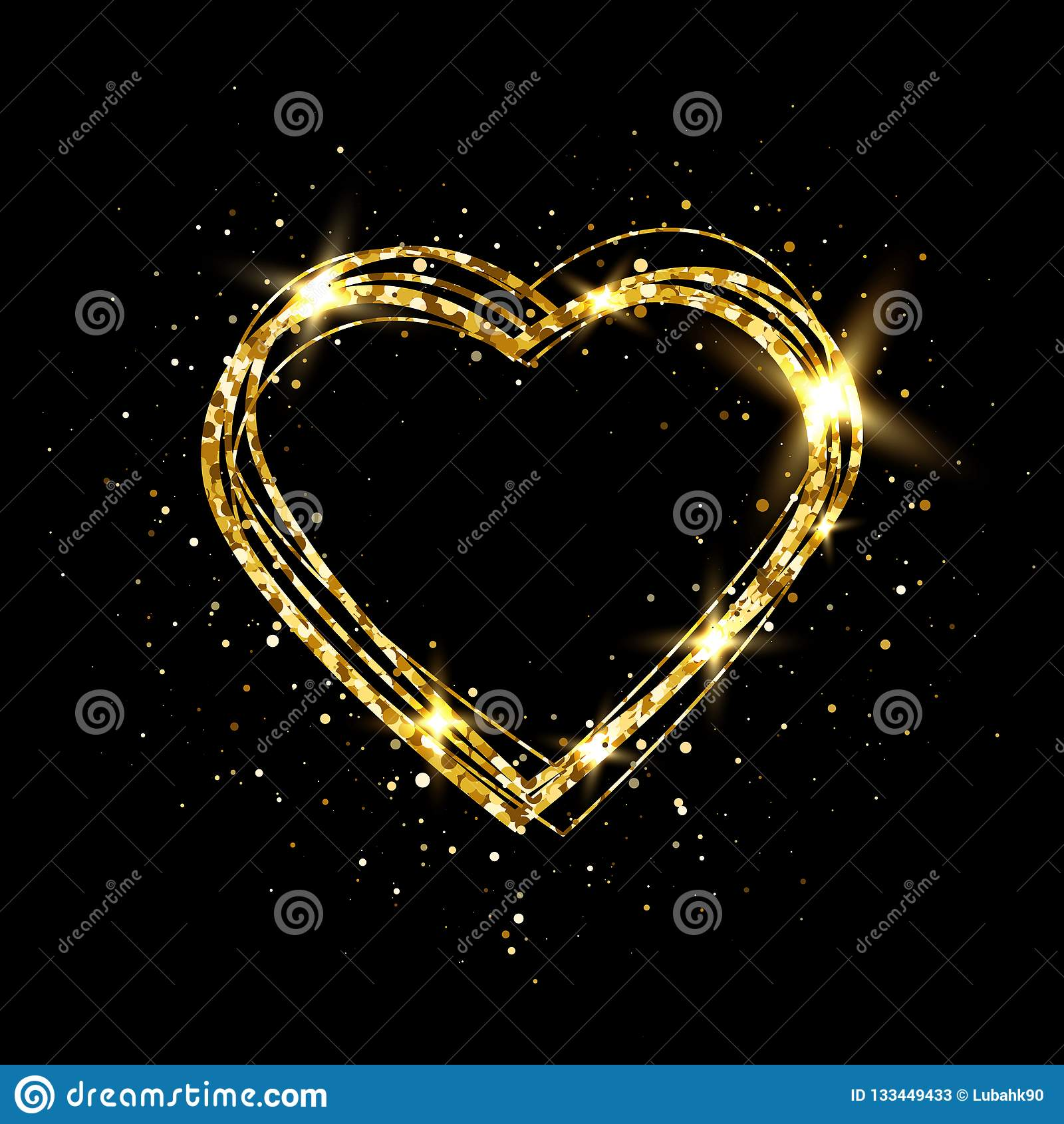 Hjärta med guld- ljus Blänka den guld- hjärtaramen med utrymme för text Lyckligt valentindagkort med glödande hjärta brigham