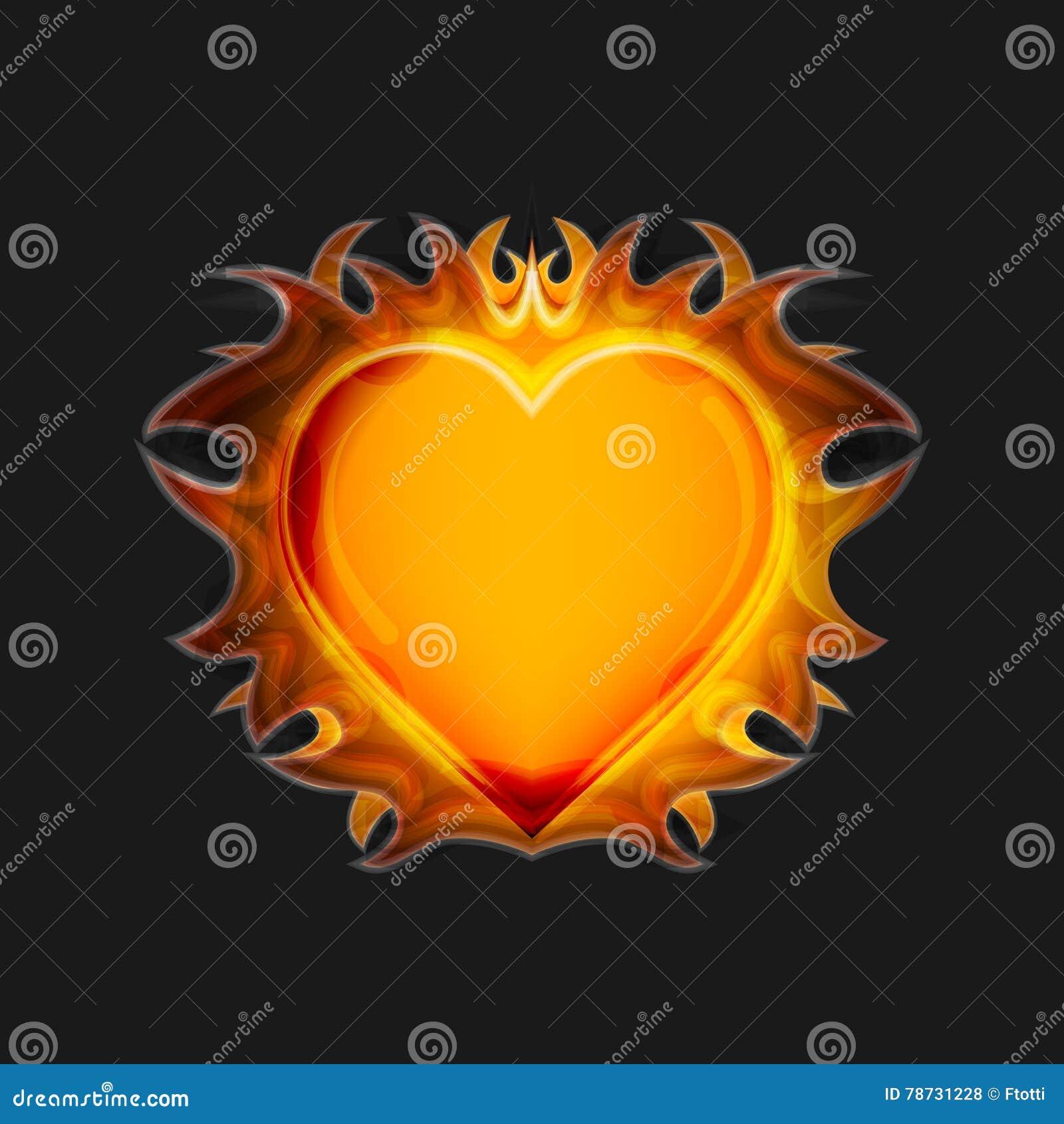Hjärta på brand på en mörk bakgrund vektor