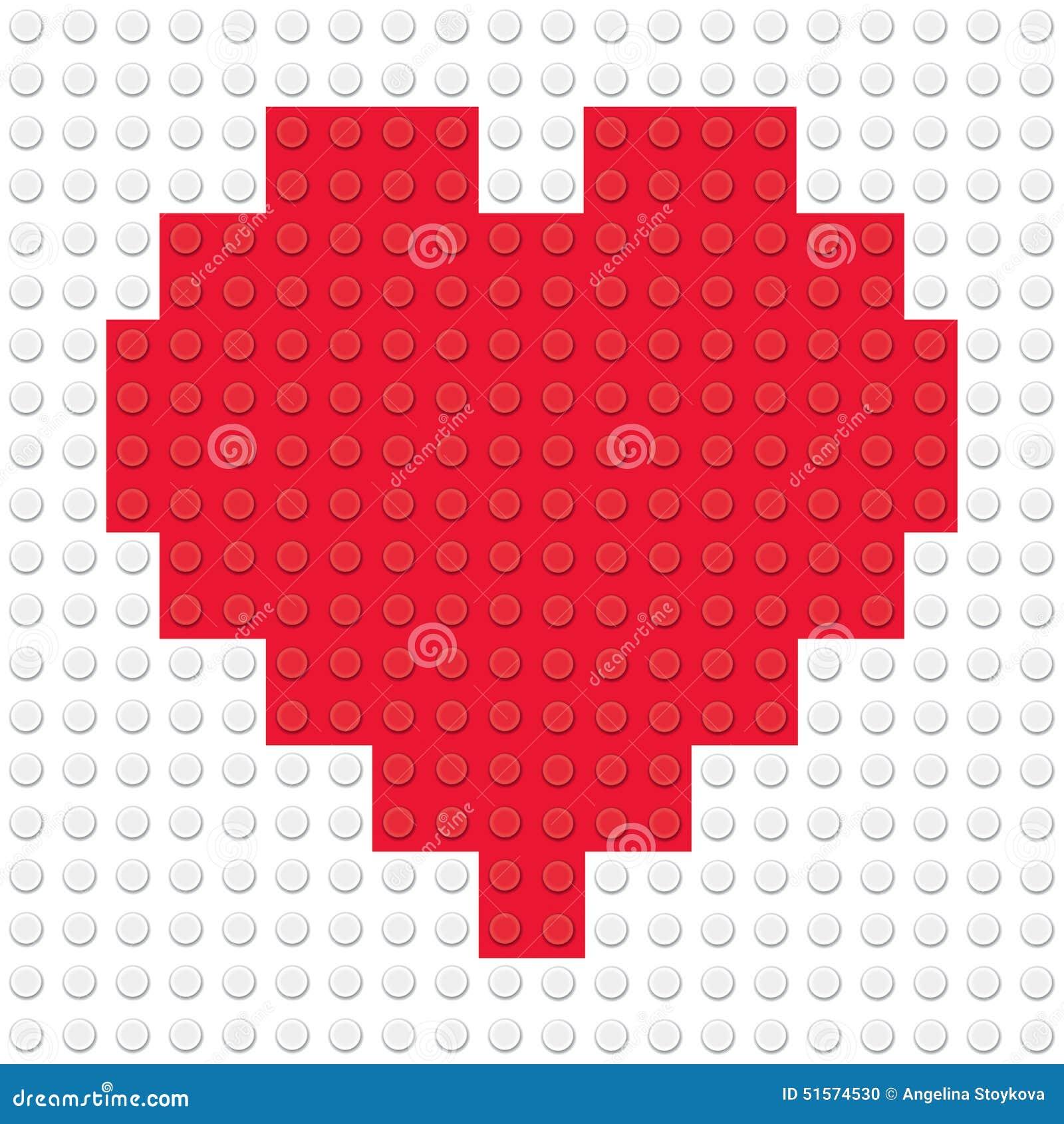 Hjärta Shape som skapas från byggnadsleksaktegelstenar
