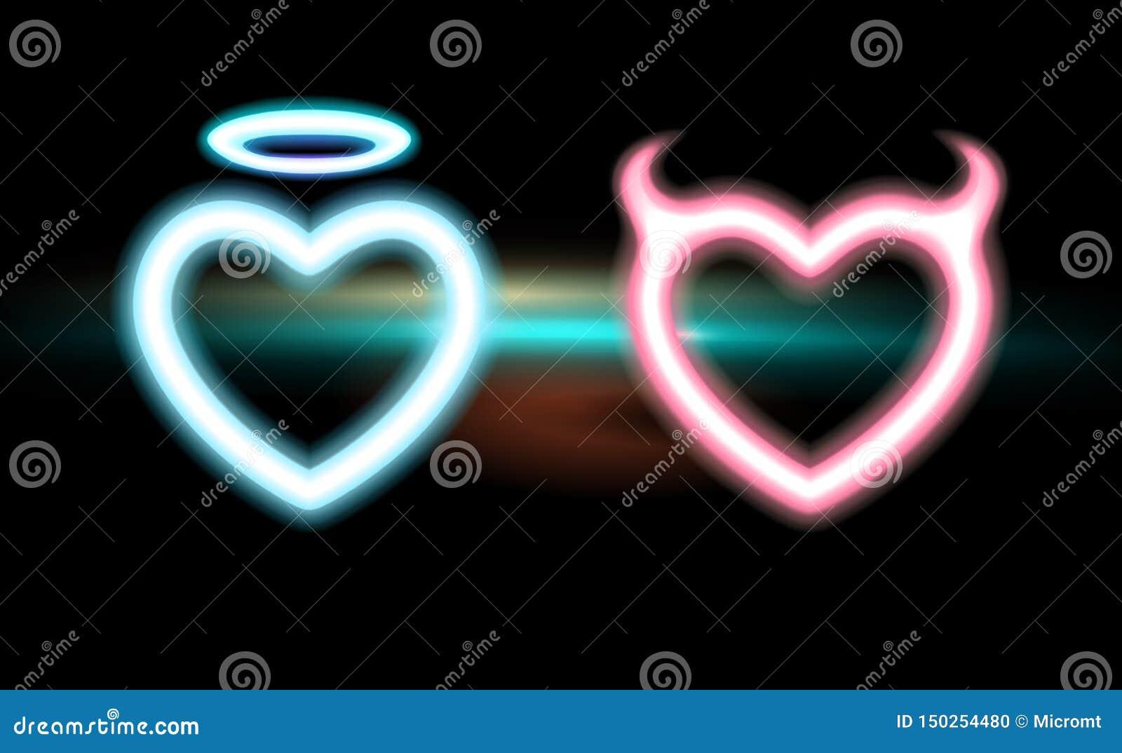 Hjärta ställde in neon blå rosa strålningshorned jäkel, glödgloriaängeln för valentindagallhelgonaafton Design för förälskelse fö