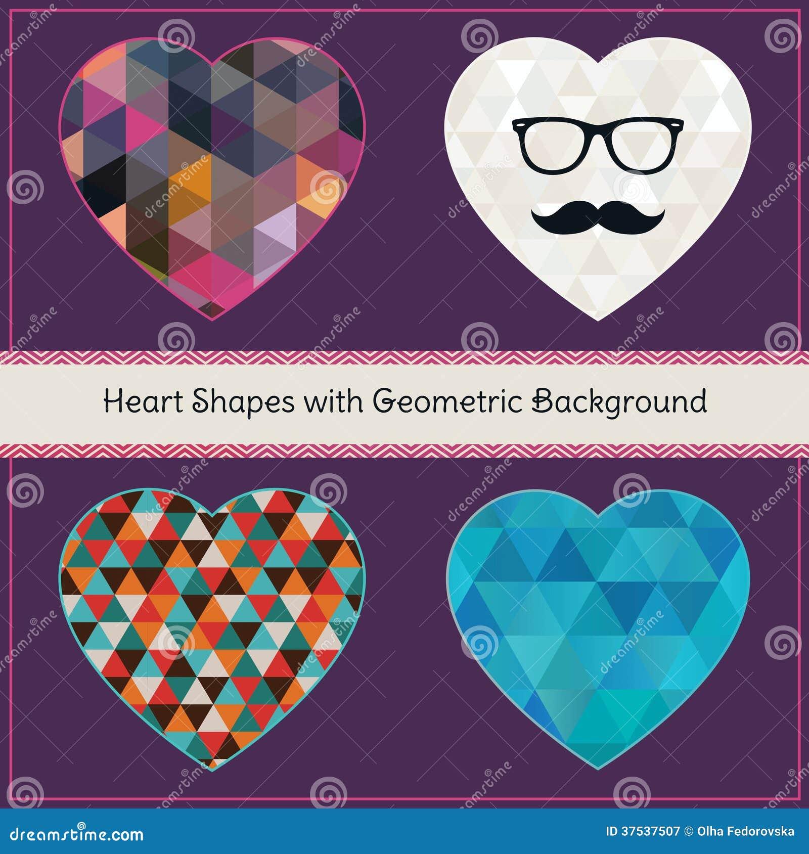 Hjärtaformer med geometrisk Grungebakgrund