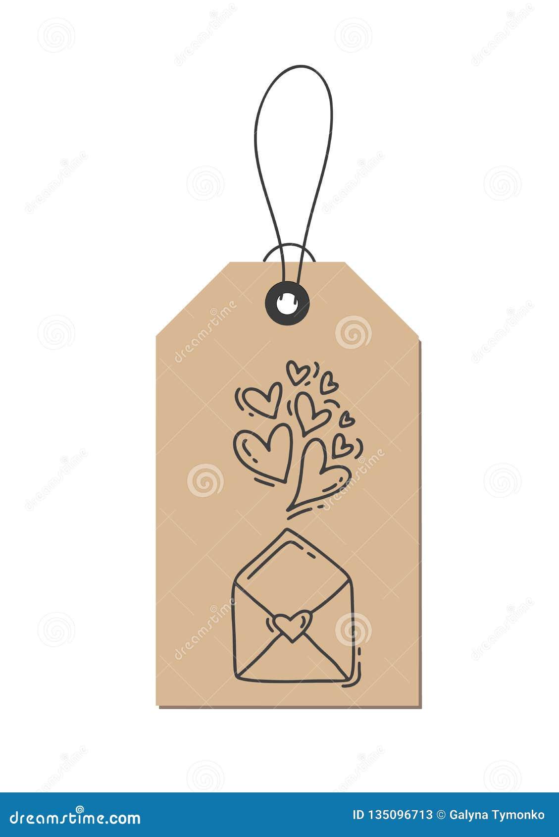 Hjärtor och kuvert för krusidull för vektormonolinekalligrafi om förälskelse på den kraft etiketten Isolerad dragen valentindagha