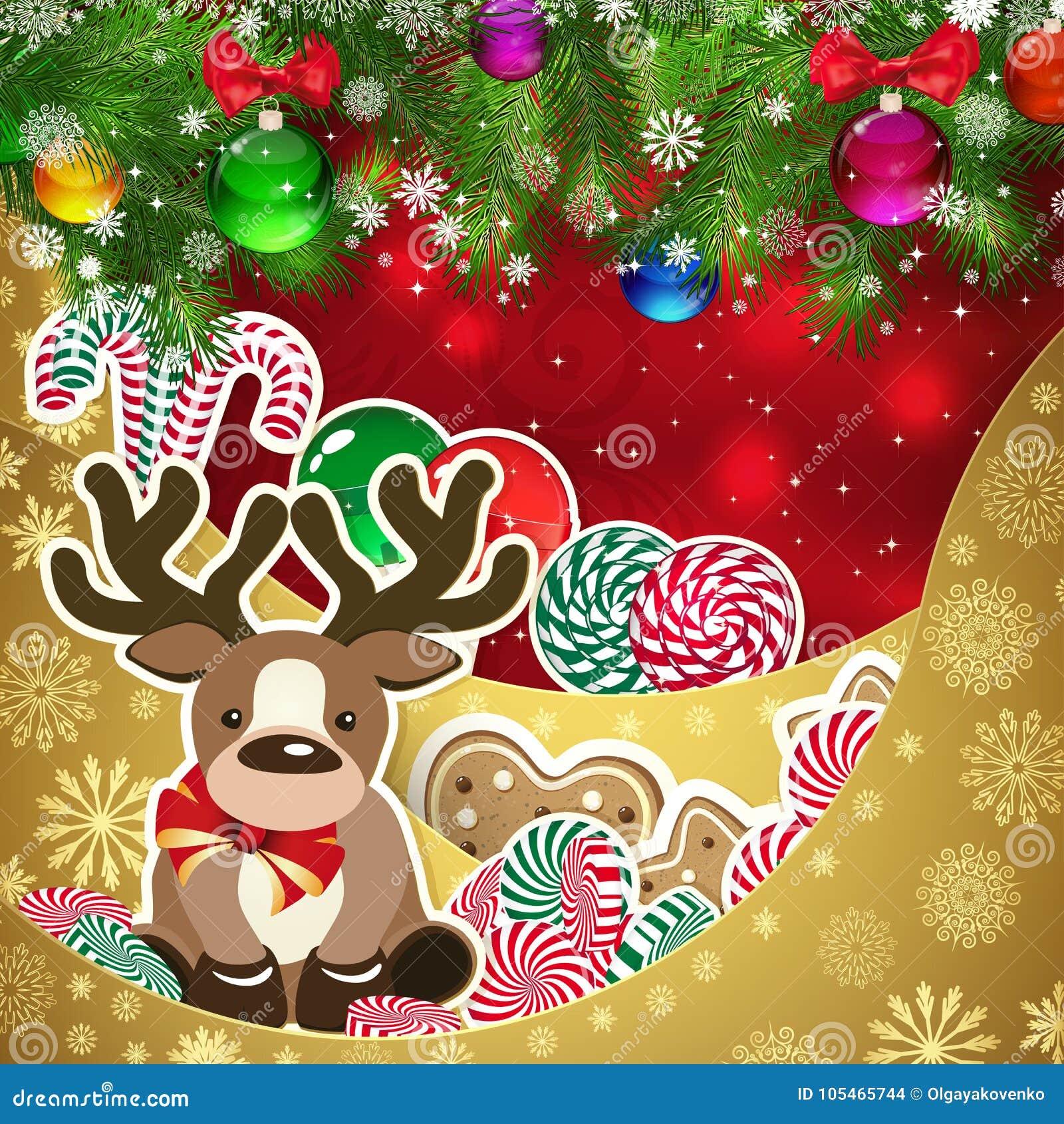 Hjort på bakgrunden av sötsaker, dekorerad jul klumpa ihop sig kli