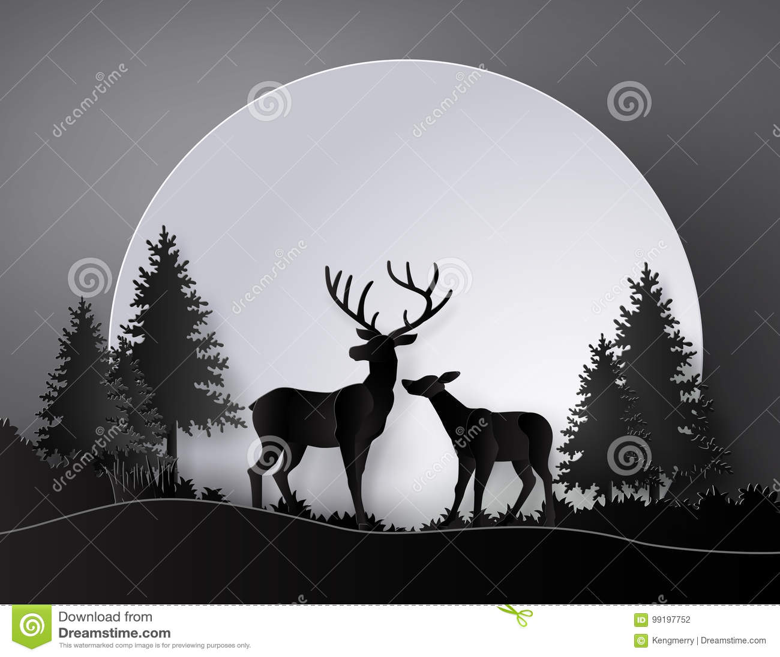 Hjortar i skog med fullmånen