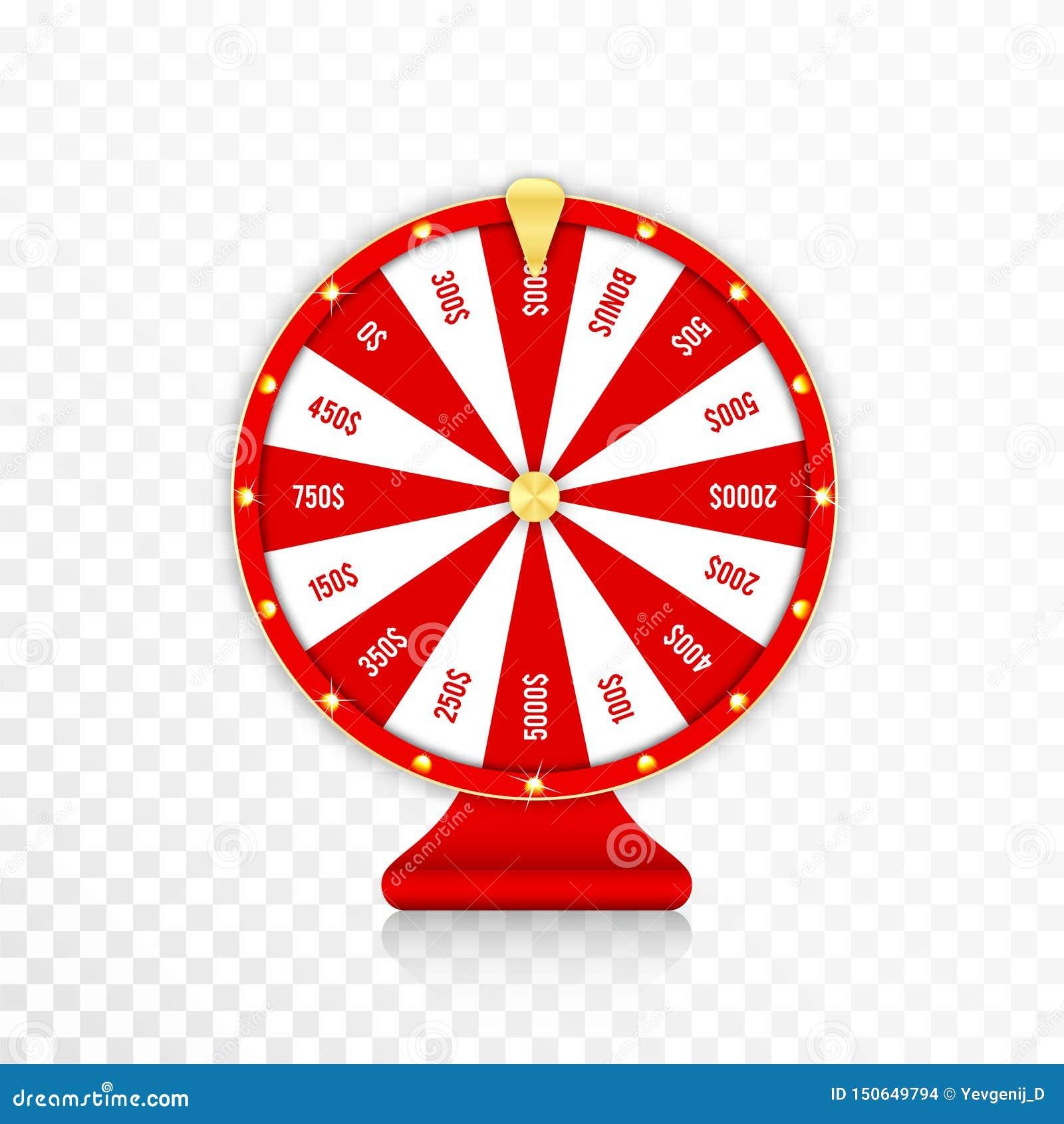 Hjulet av förmögenhet, roterande förmögenhet rullar i röda och guld- färger Den realistiska roulettdesignen för lotterit, kasino