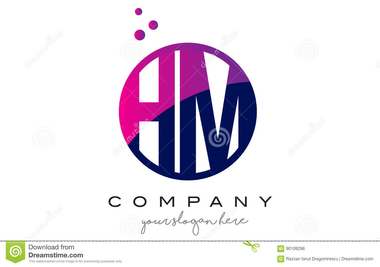 hm h m circle letter logo design with purple dots bubbles stock