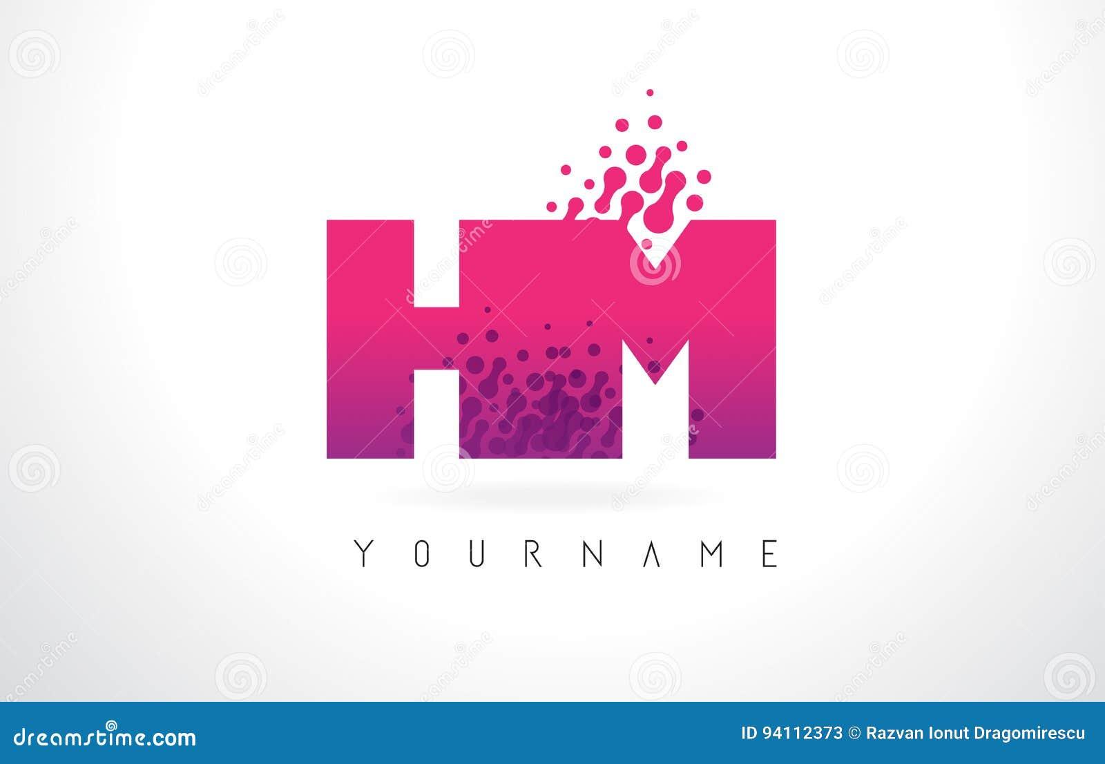 HM H M Letter Logo With Pink Purple Color And Particles Dots Des ...