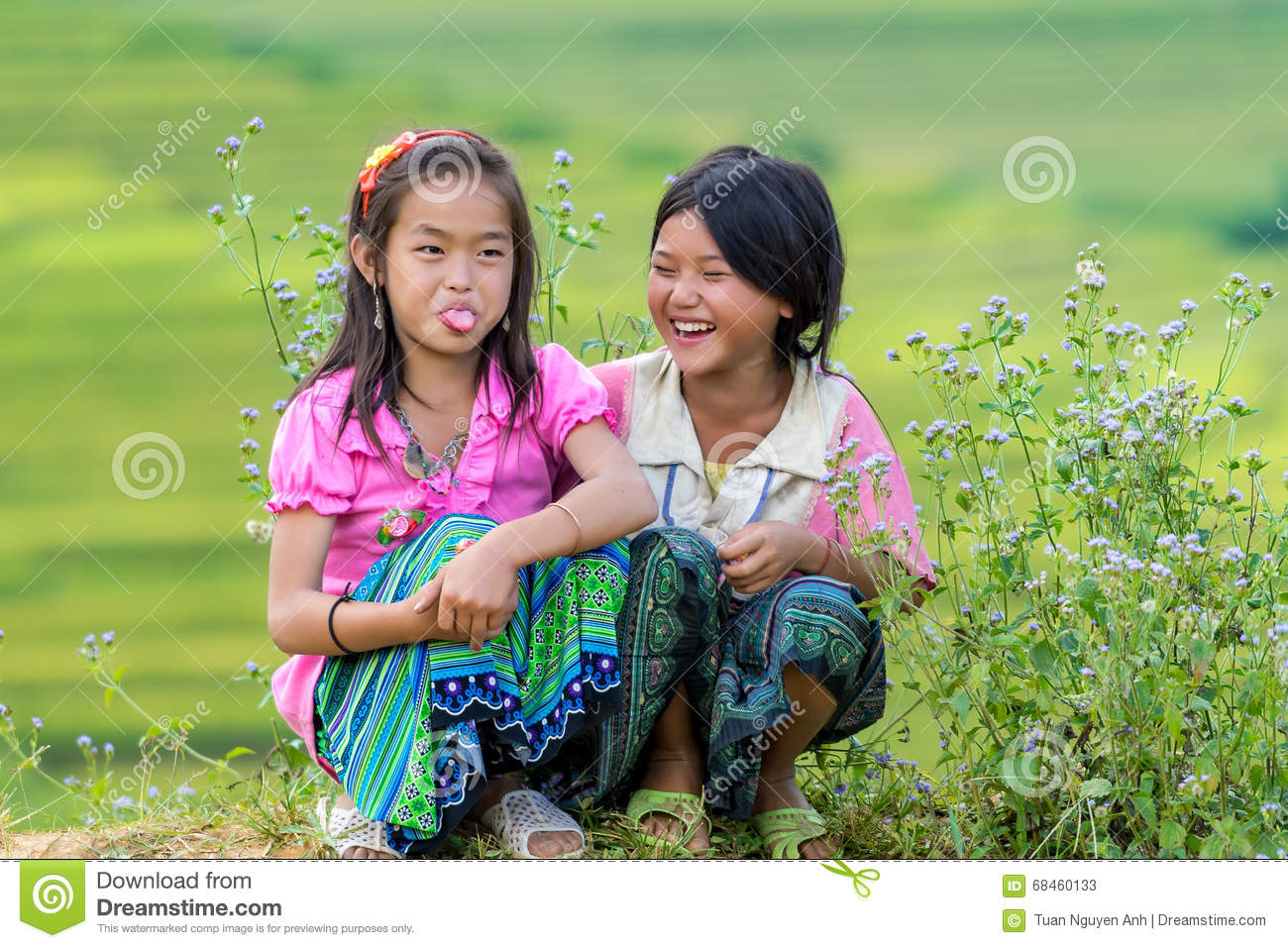 Hmong children smiling in rice terrace river side